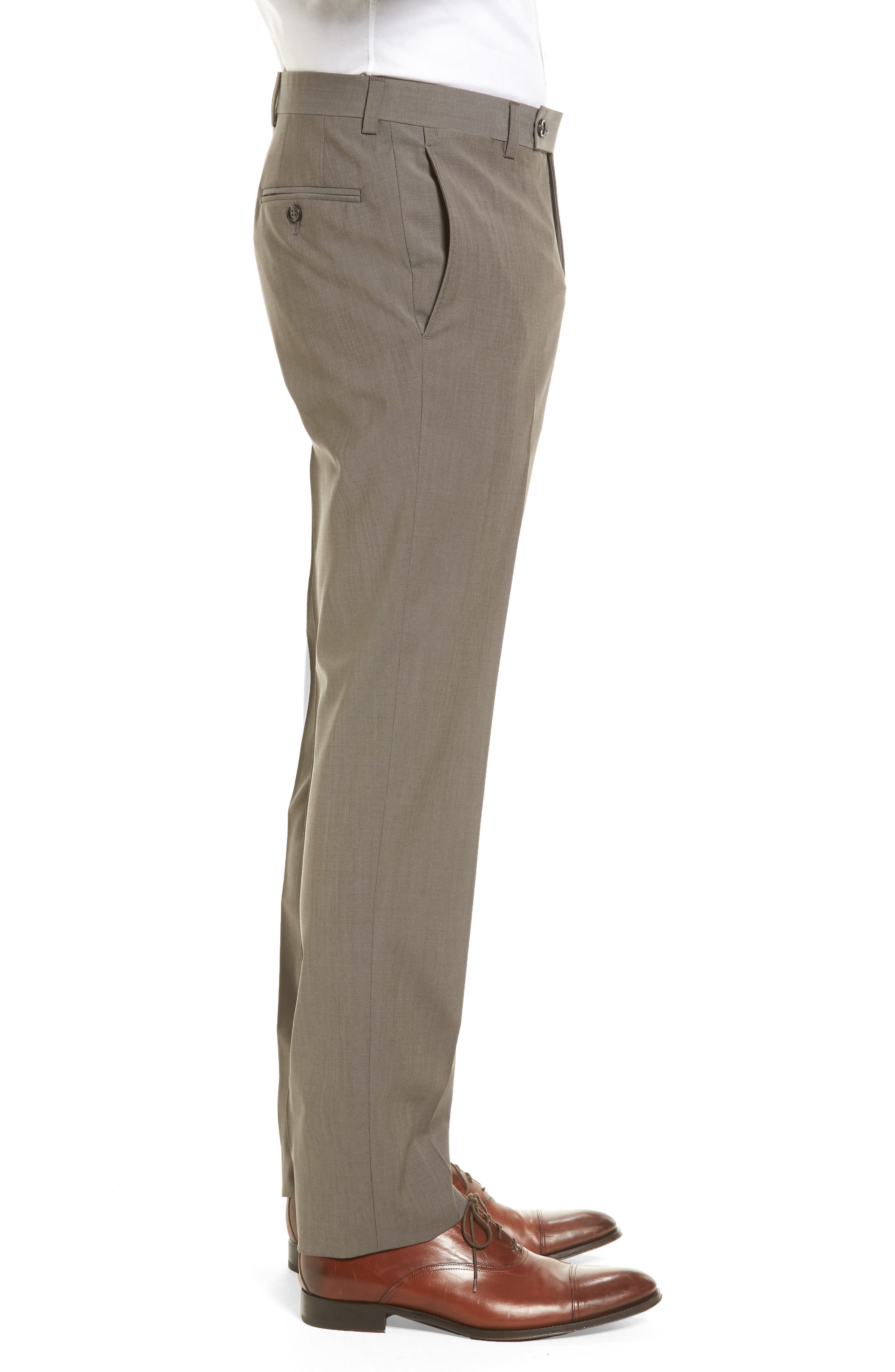 Jefferson Flat Front Stretch Wool Trousers,                             Alternate thumbnail 3, color,                             Grey