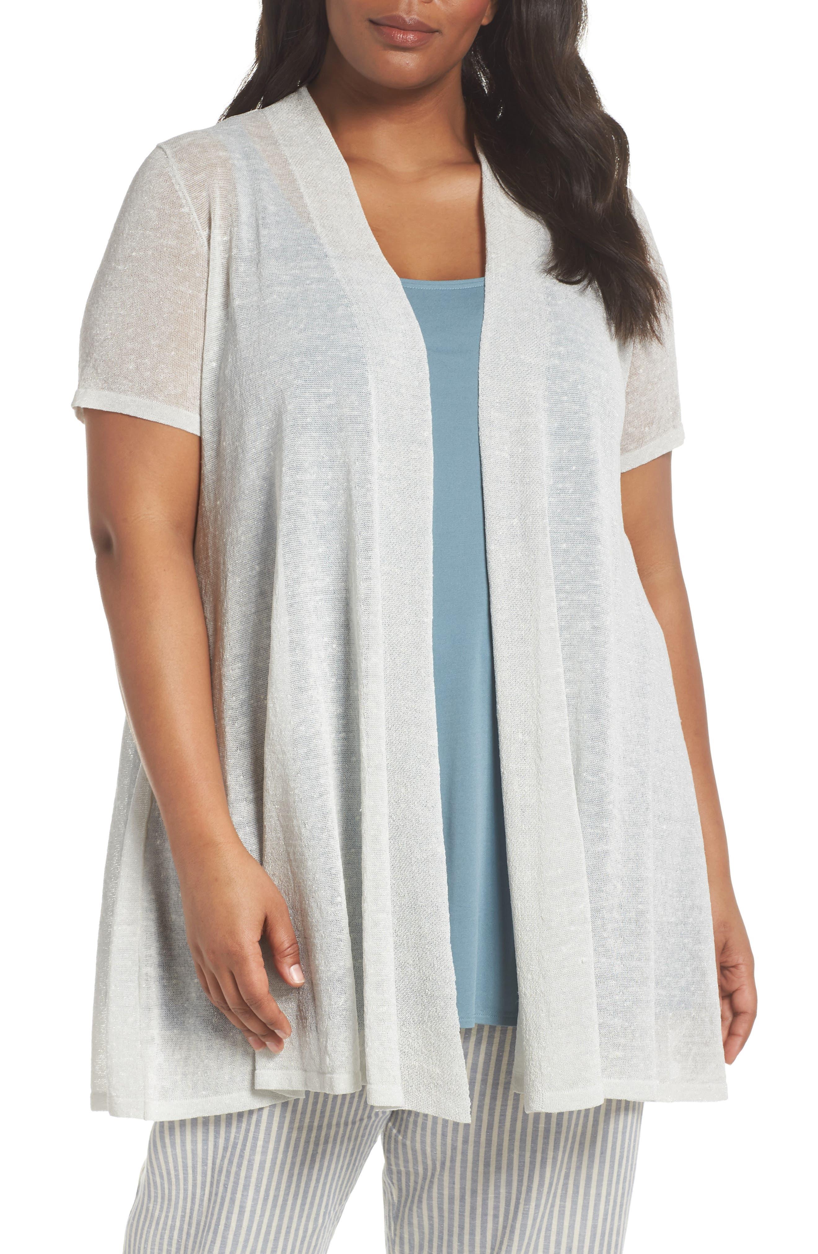 Long Organic Linen Blend Cardigan,                         Main,                         color, Bone