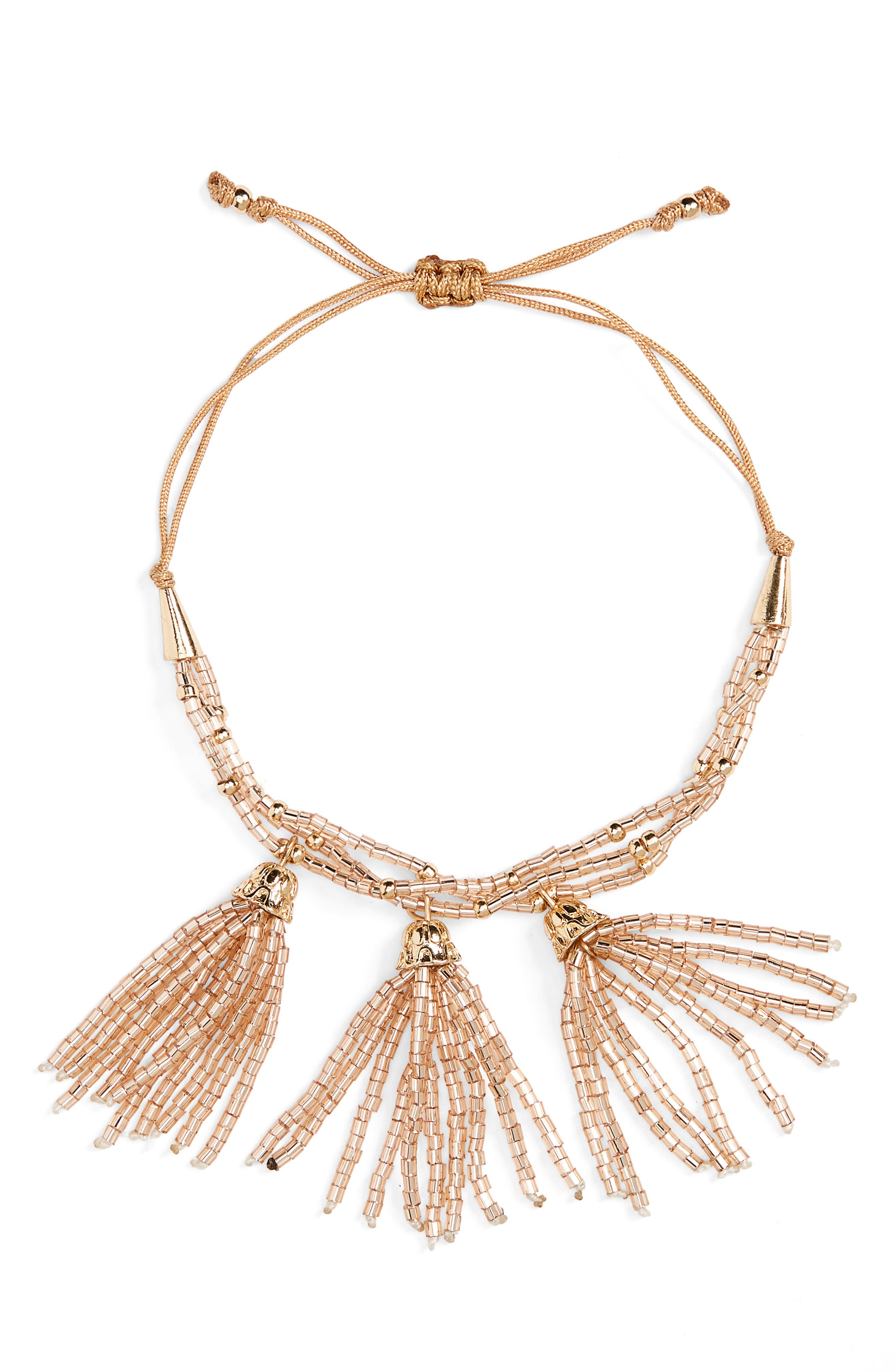Beaded Tassel Bracelet,                         Main,                         color, Ivory