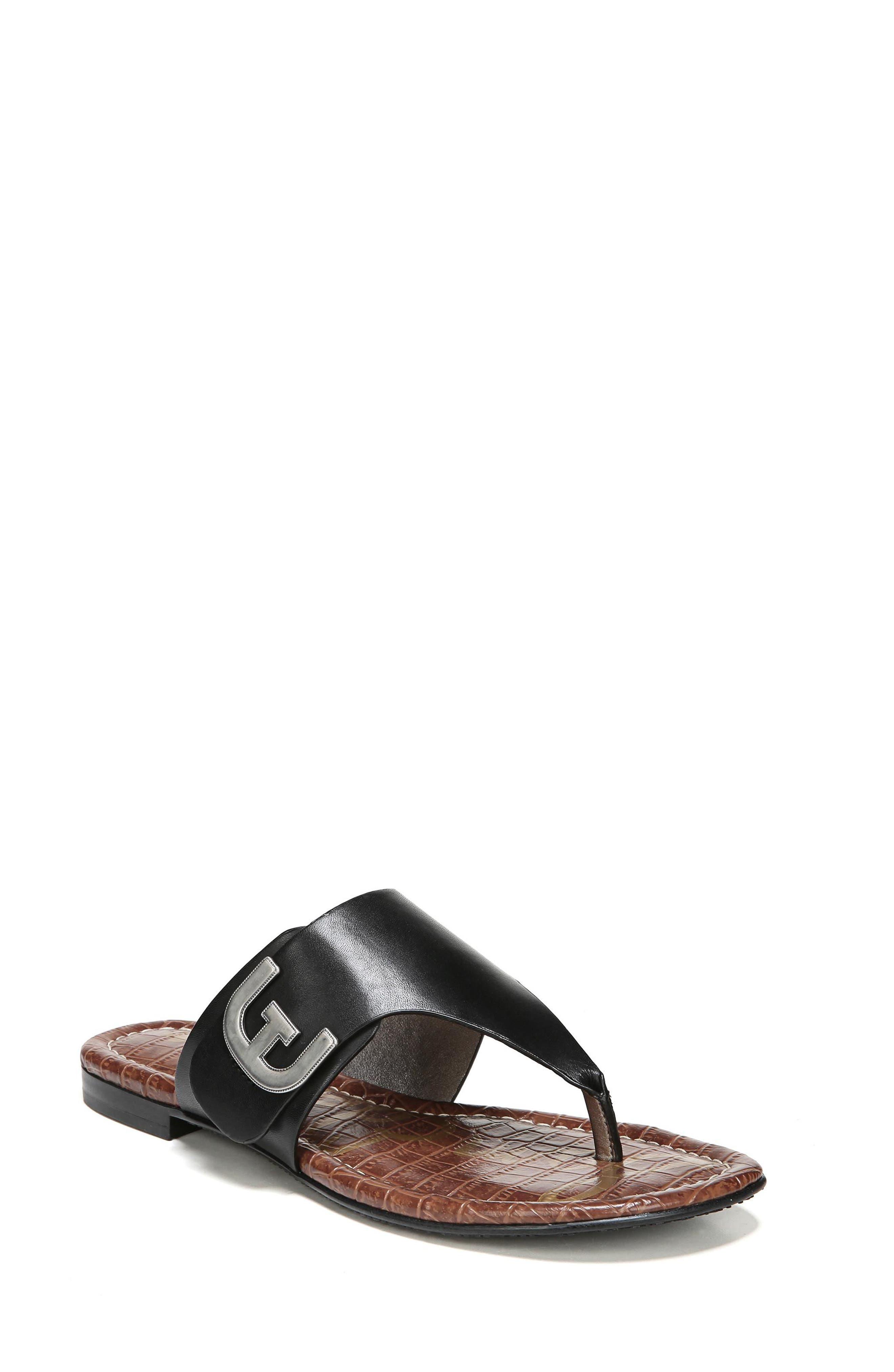 Barry V-Strap Thong Sandal,                         Main,                         color, Black Leather