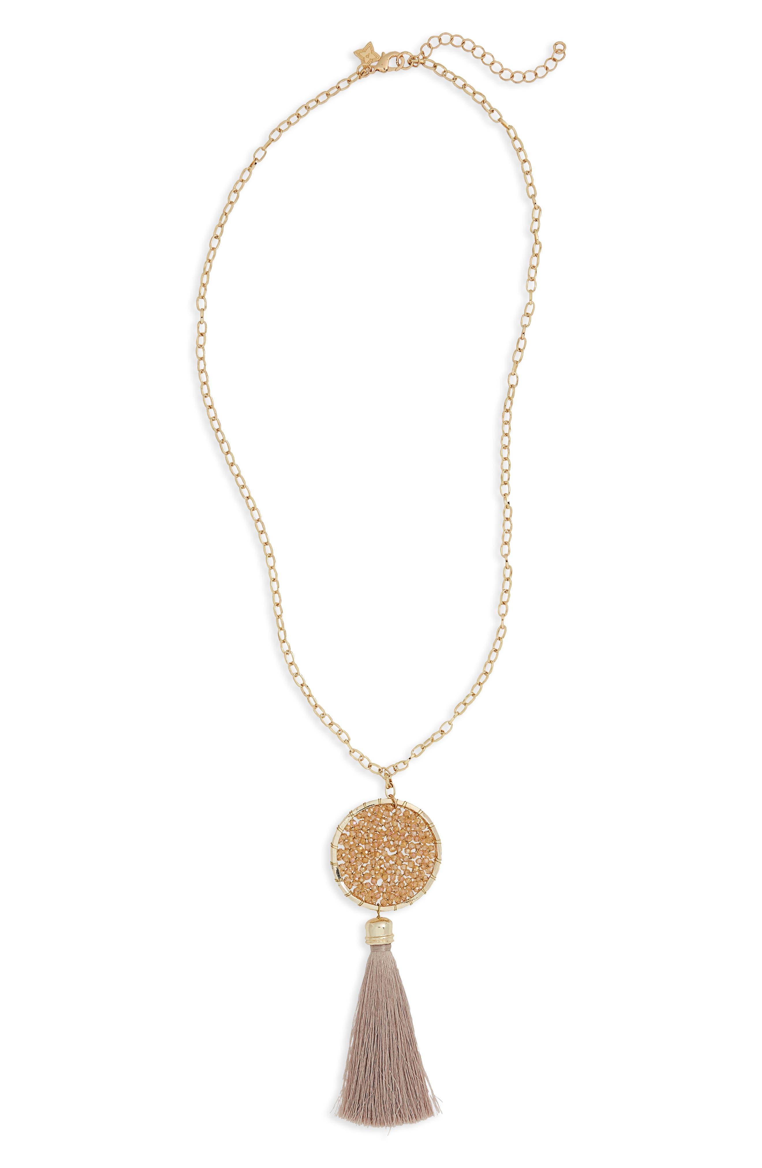 Panacea Crystal Circle Tassel Pendant Necklace