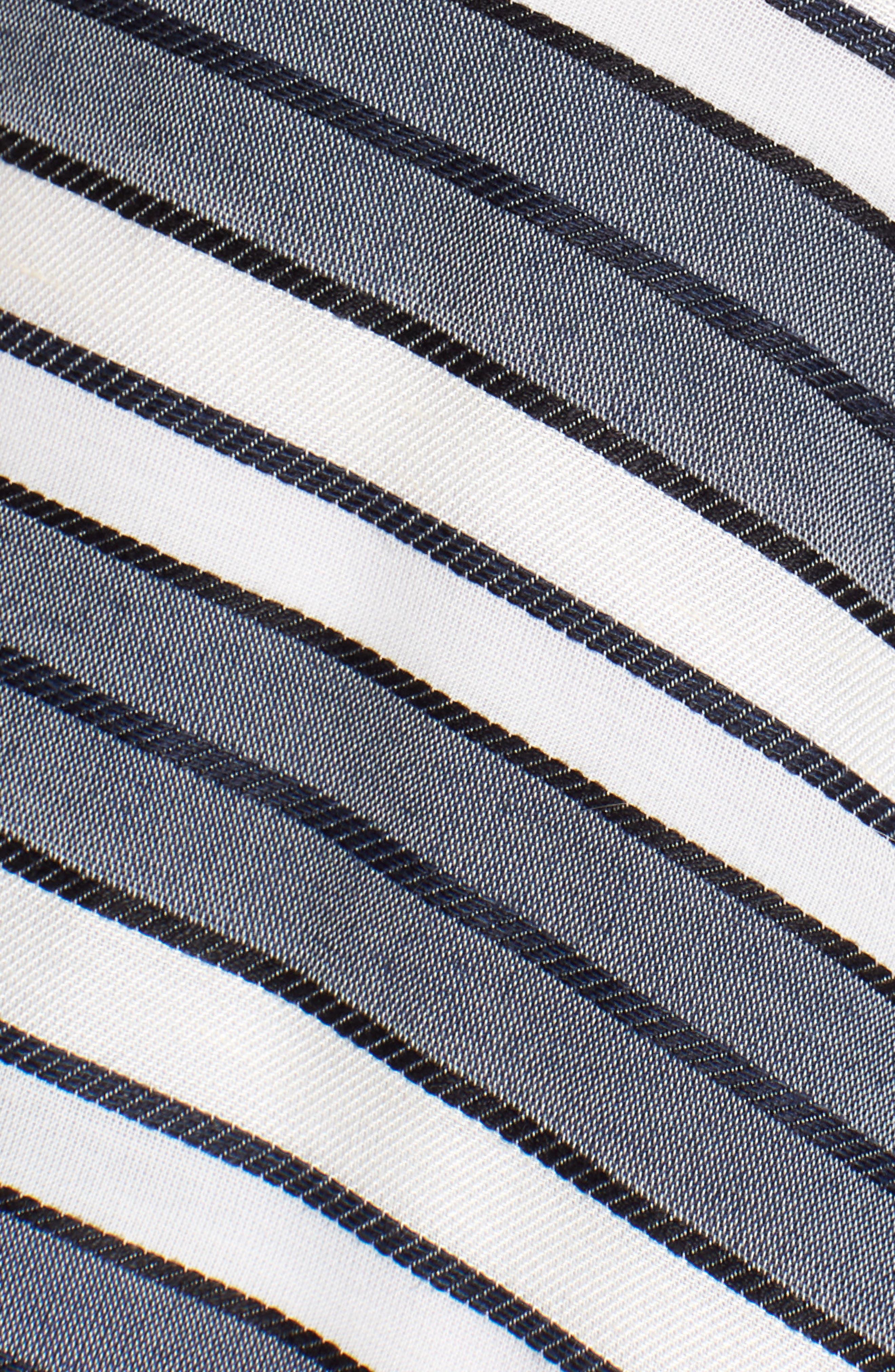 Stripe V-Neck Dress,                             Alternate thumbnail 6, color,                             Navy Stripe