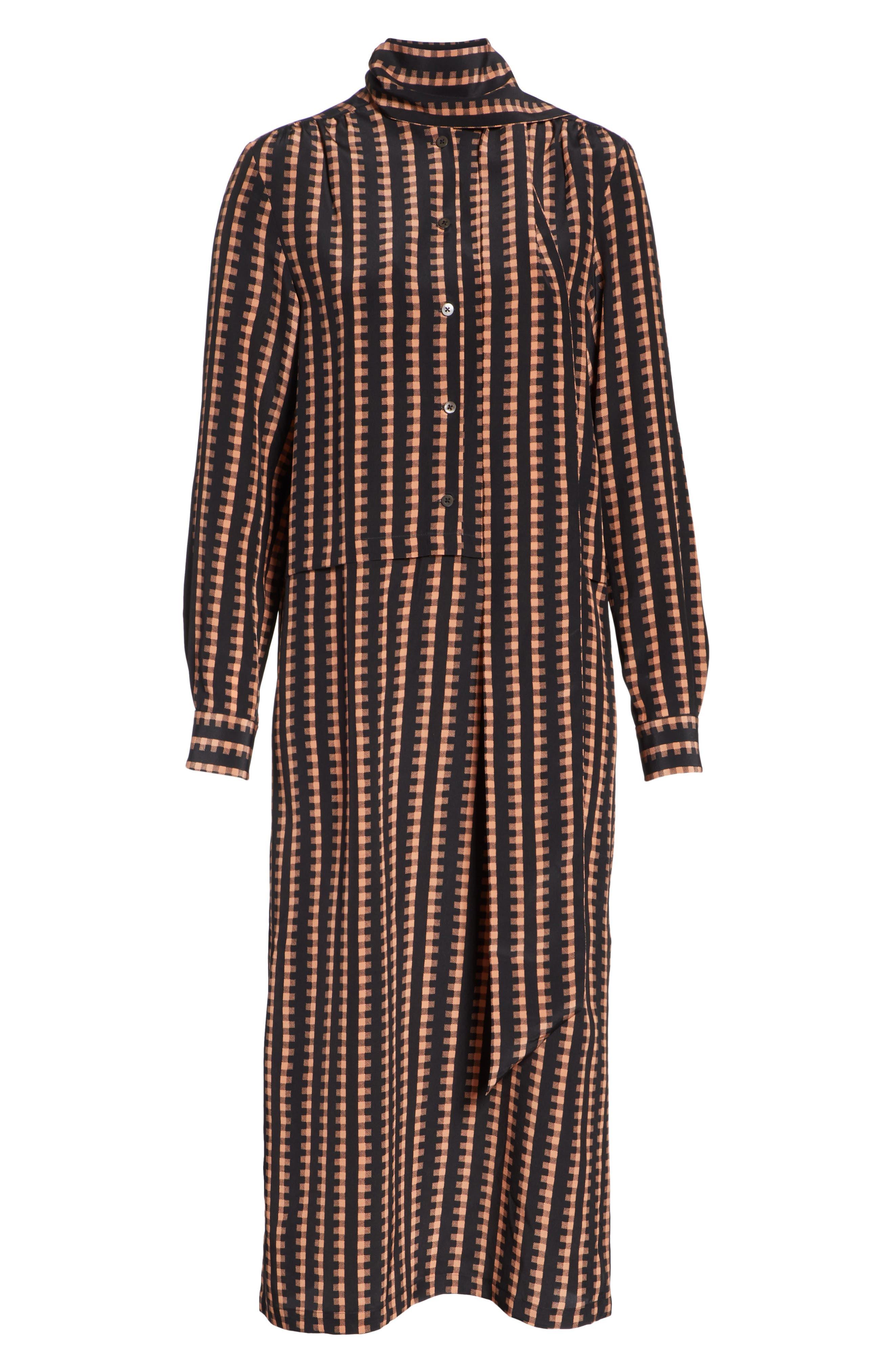 Gingham Stripe Silk Dress,                             Alternate thumbnail 6, color,                             Black