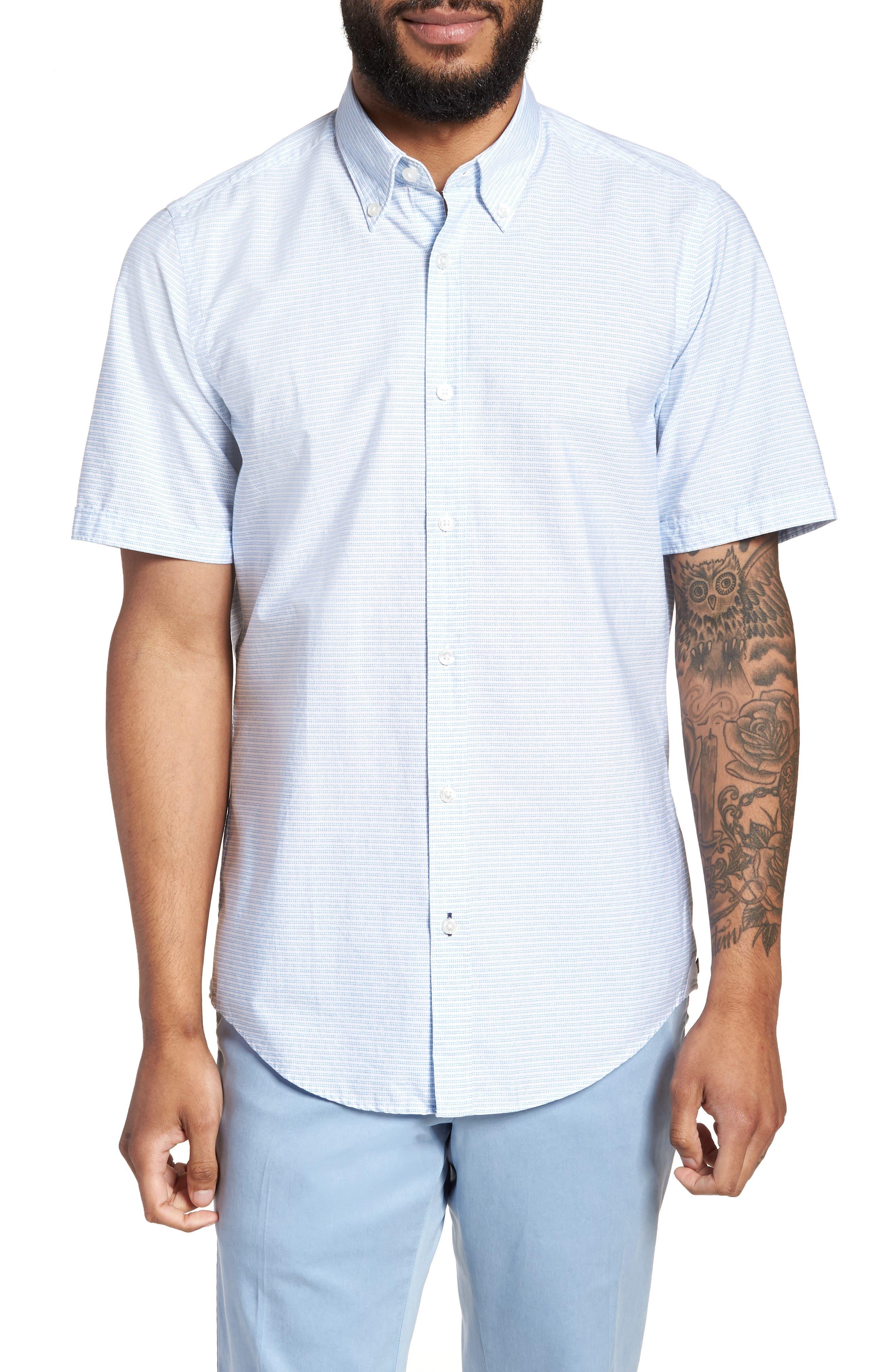 Lodi Slim Fit Stripe Sport Shirt,                         Main,                         color, Light Blue