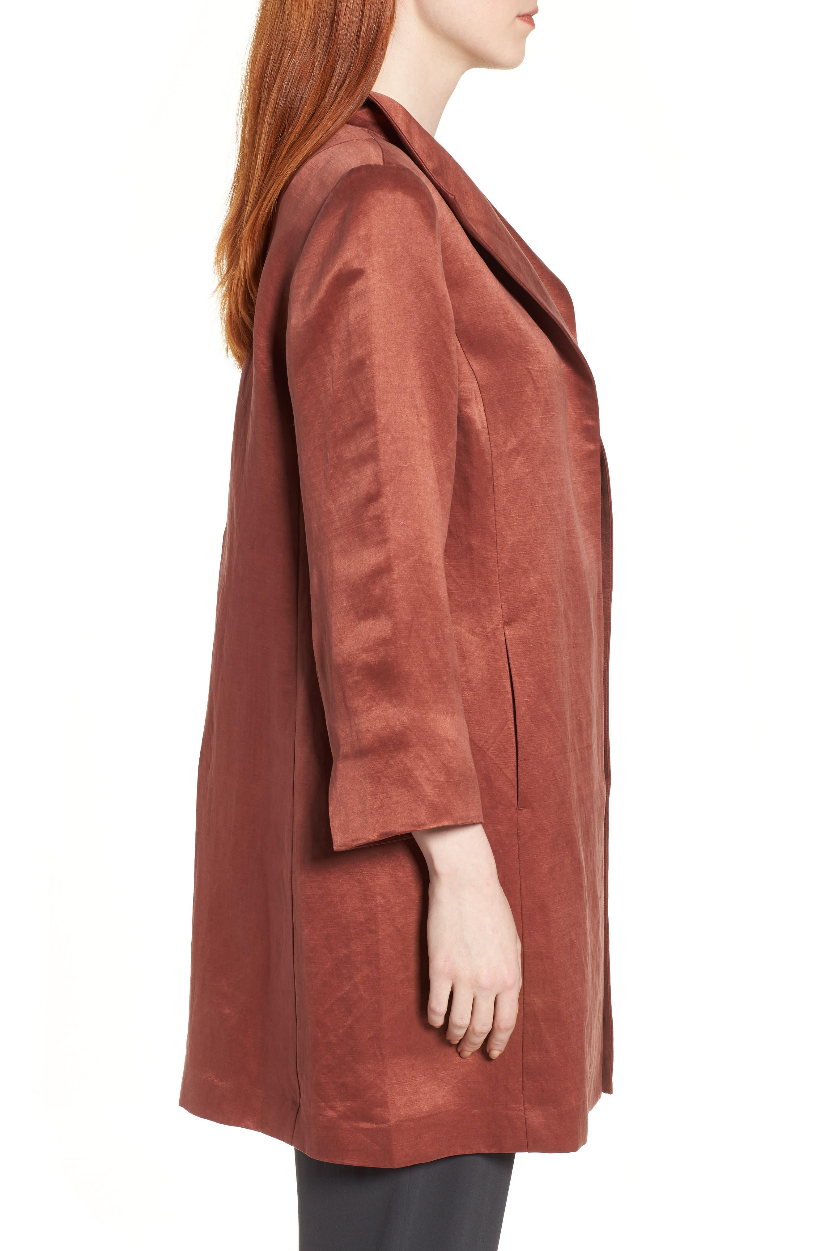 High Collar Long Jacket,                             Alternate thumbnail 3, color,                             Russet