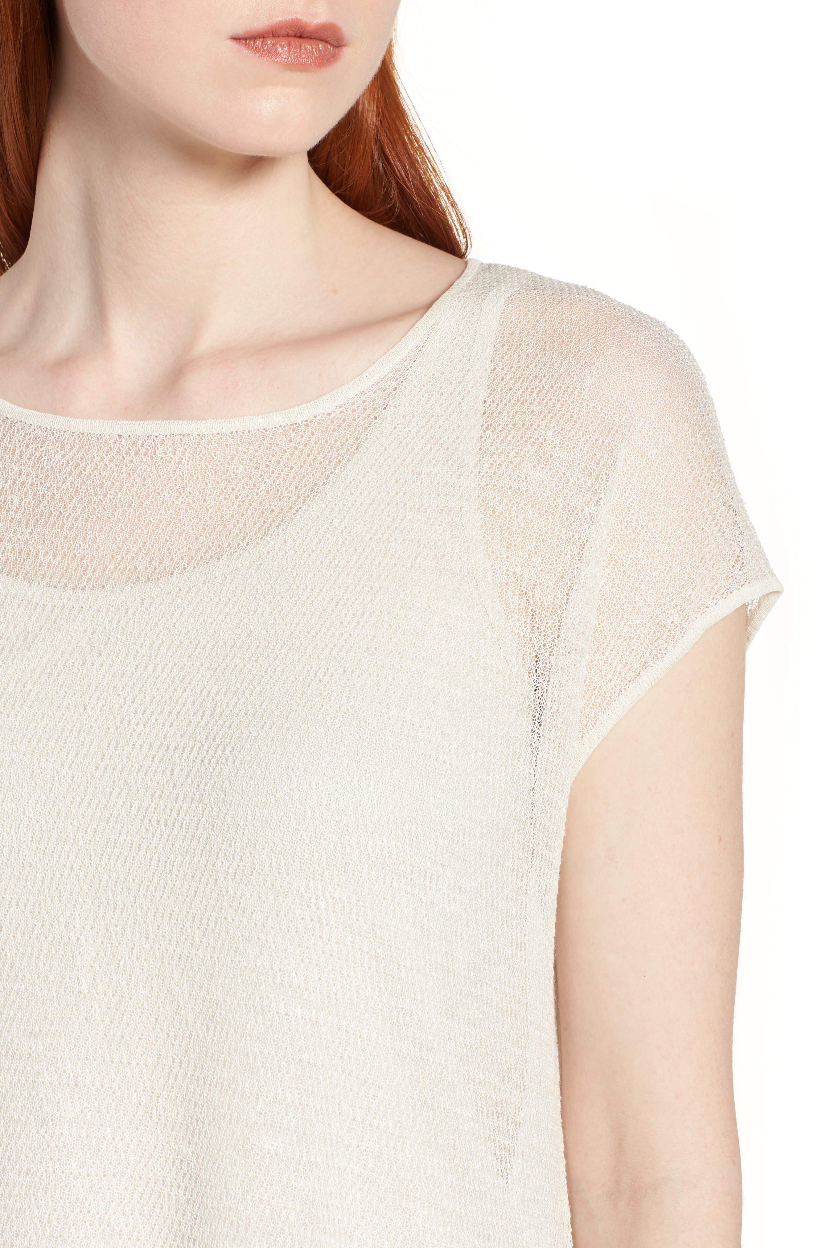 Sheer Asymmetrical Cap Sleeve Sweater,                             Alternate thumbnail 4, color,                             Bone