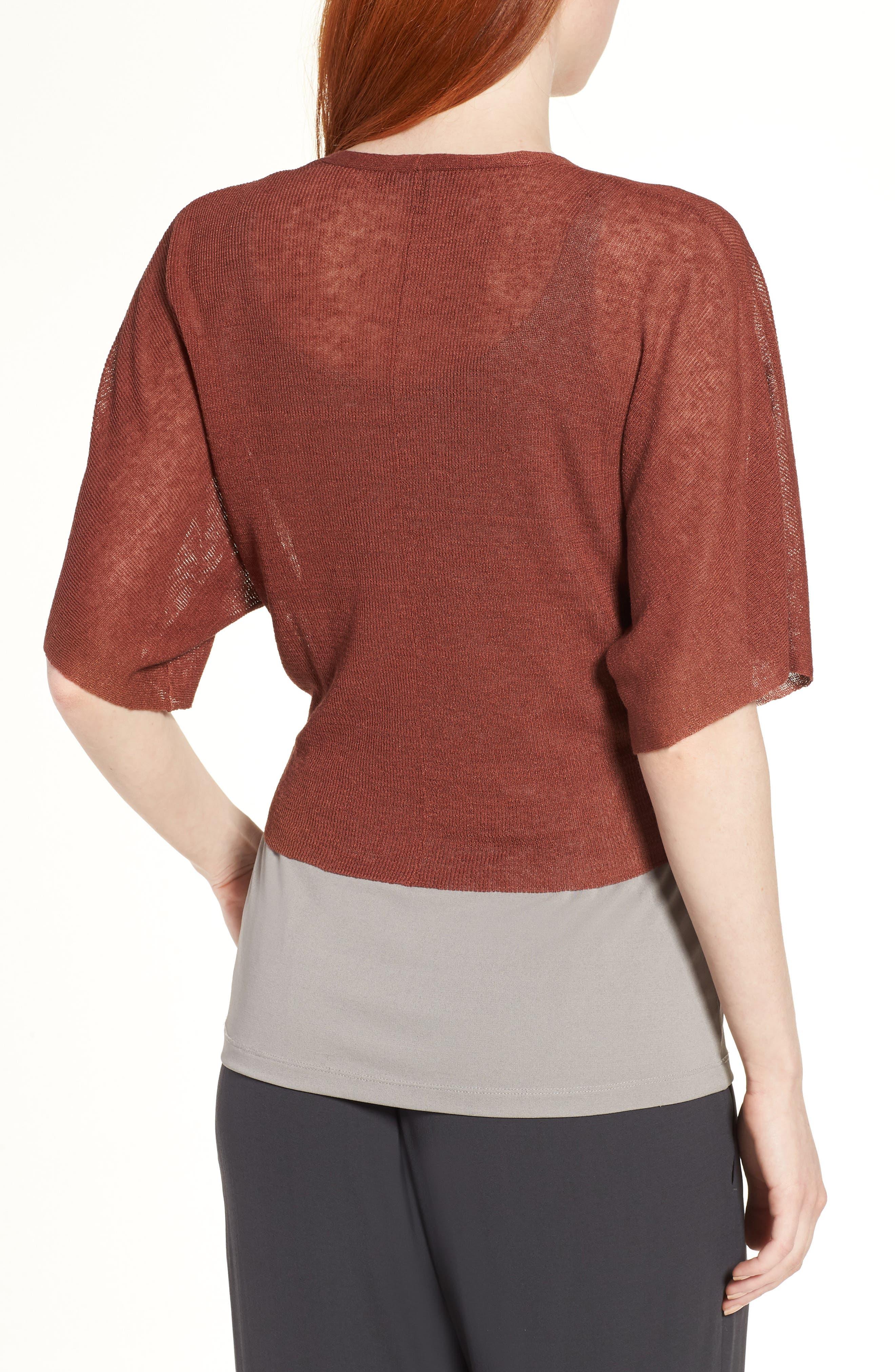 Tie Front Organic Linen Blend Cardigan,                             Alternate thumbnail 2, color,                             Russet