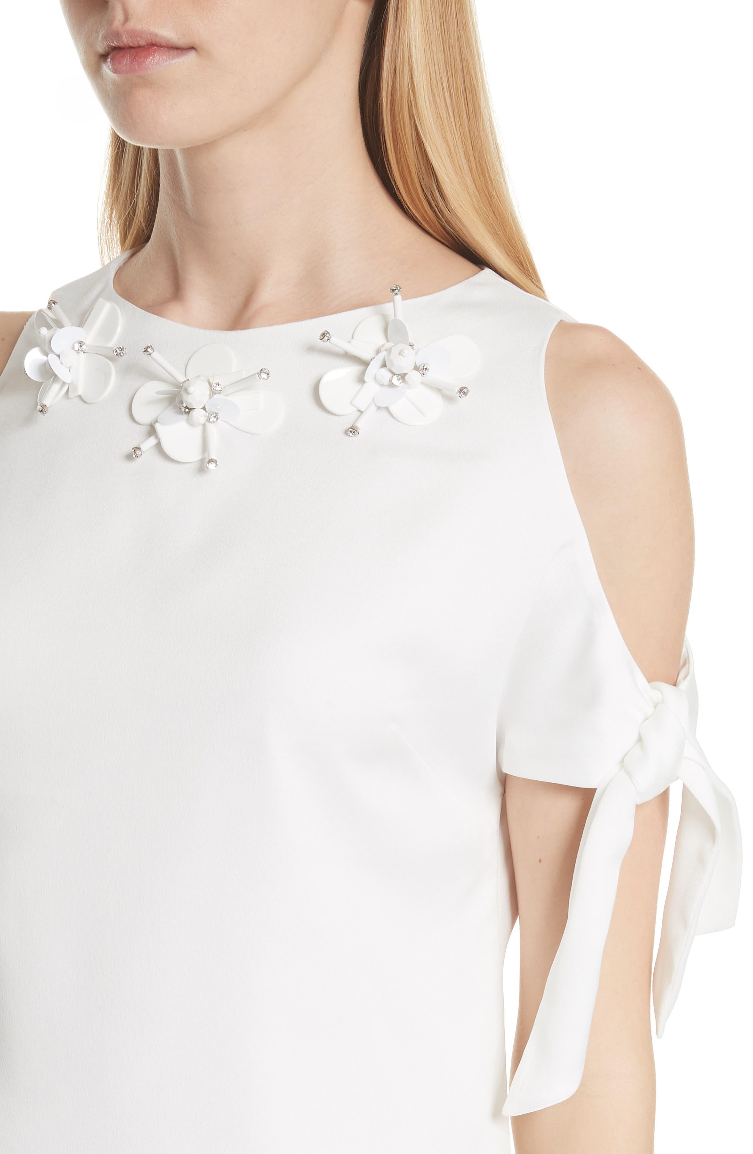 Embellished Neck Cold Shoulder Top,                             Alternate thumbnail 4, color,                             White
