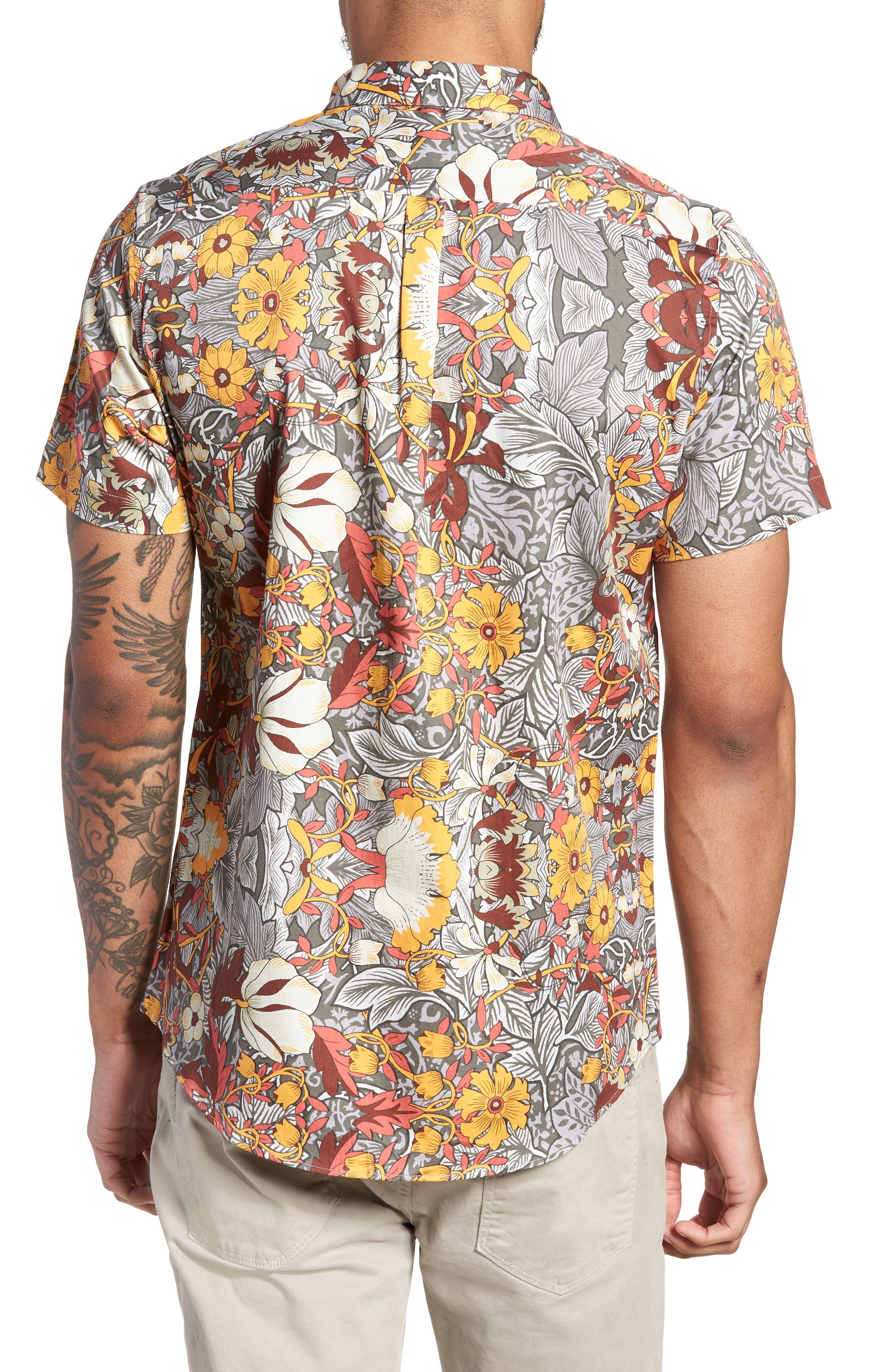 Trim Fit Woven Short Sleeve Shirt,                             Alternate thumbnail 2, color,                             Grey
