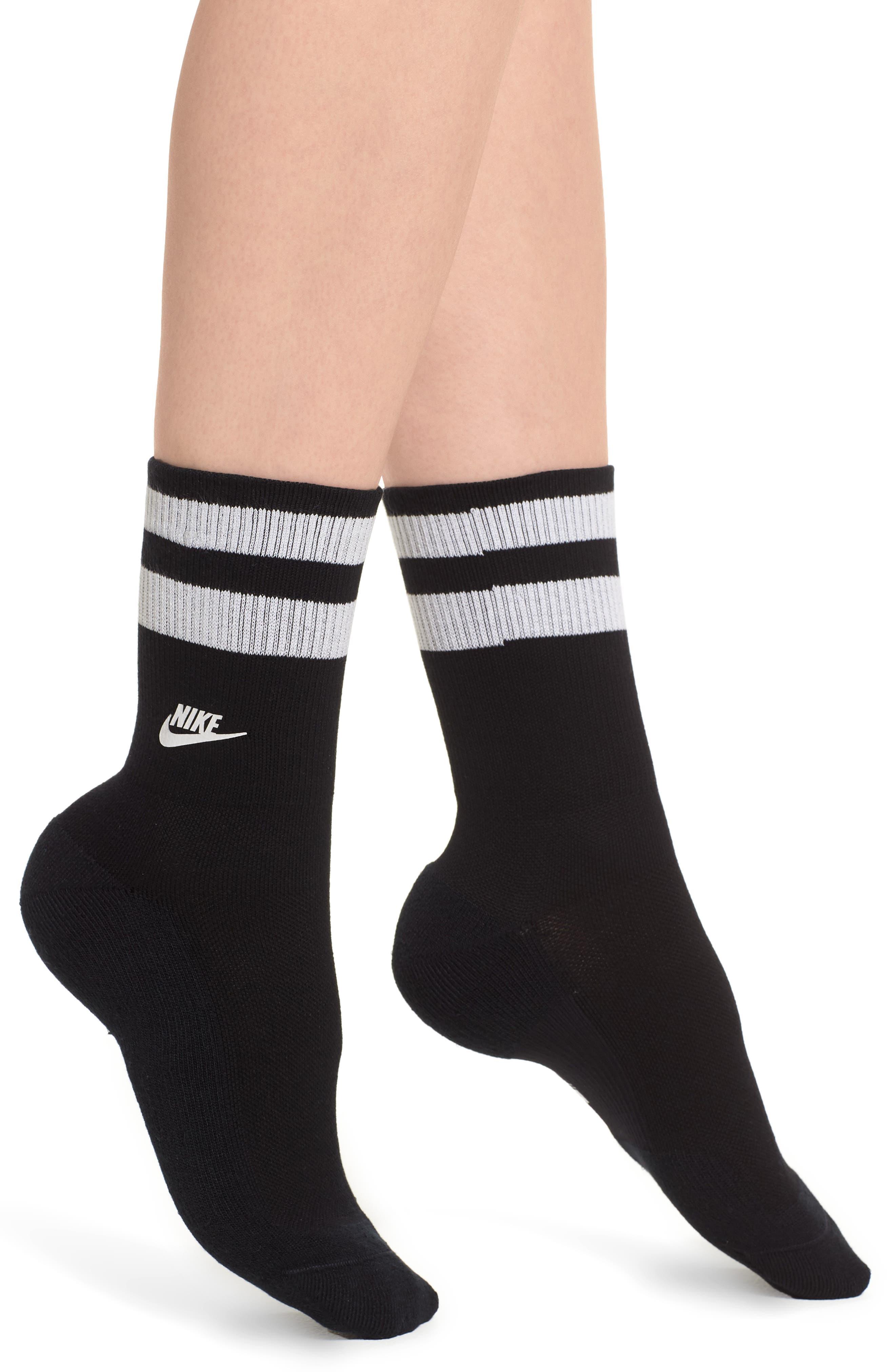 Stripe Top Crew Socks,                         Main,                         color, Black/ White