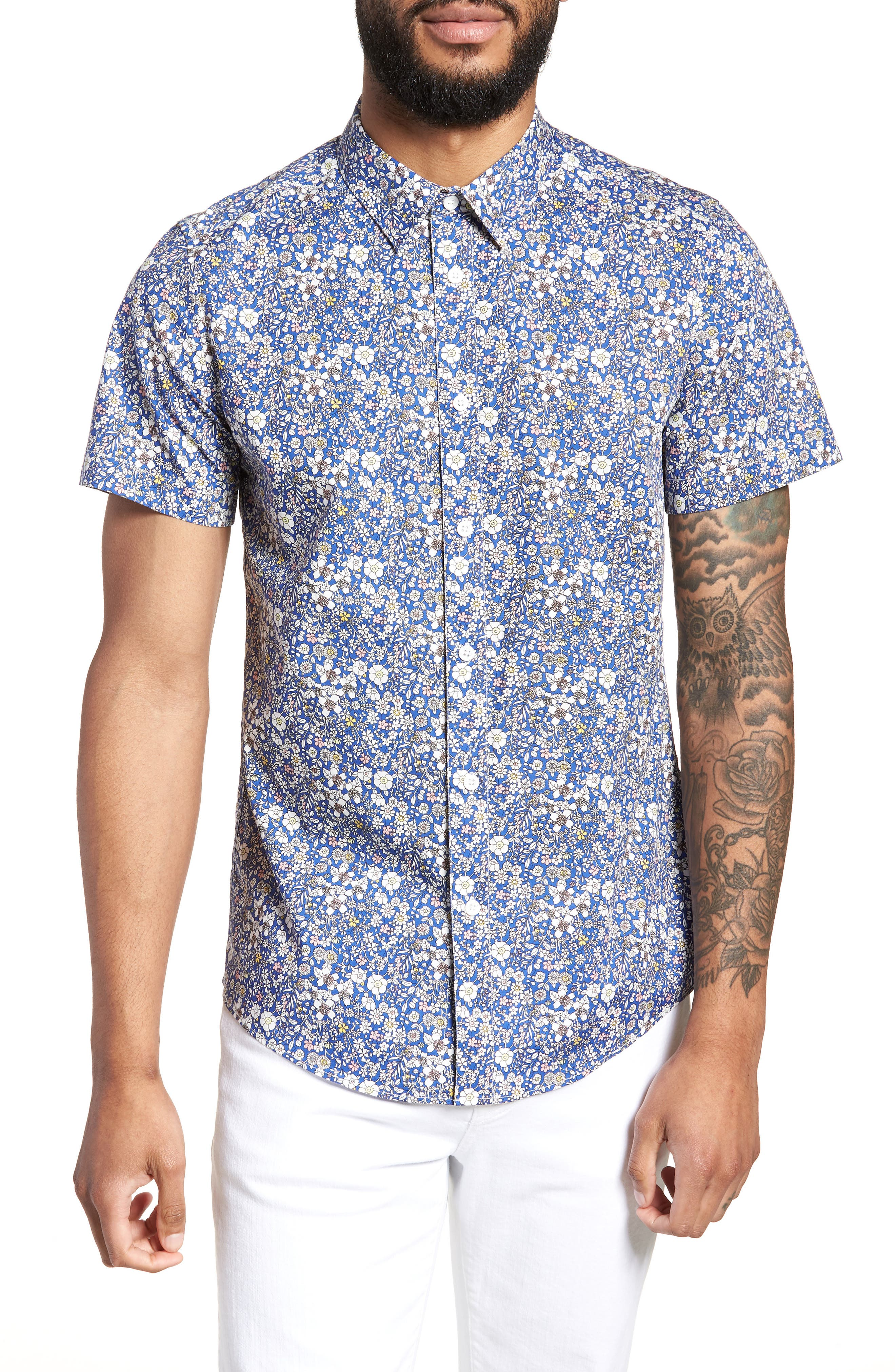 Trim Fit Print Woven Short Sleeve Shirt,                             Main thumbnail 1, color,                             Blue Pink Floral
