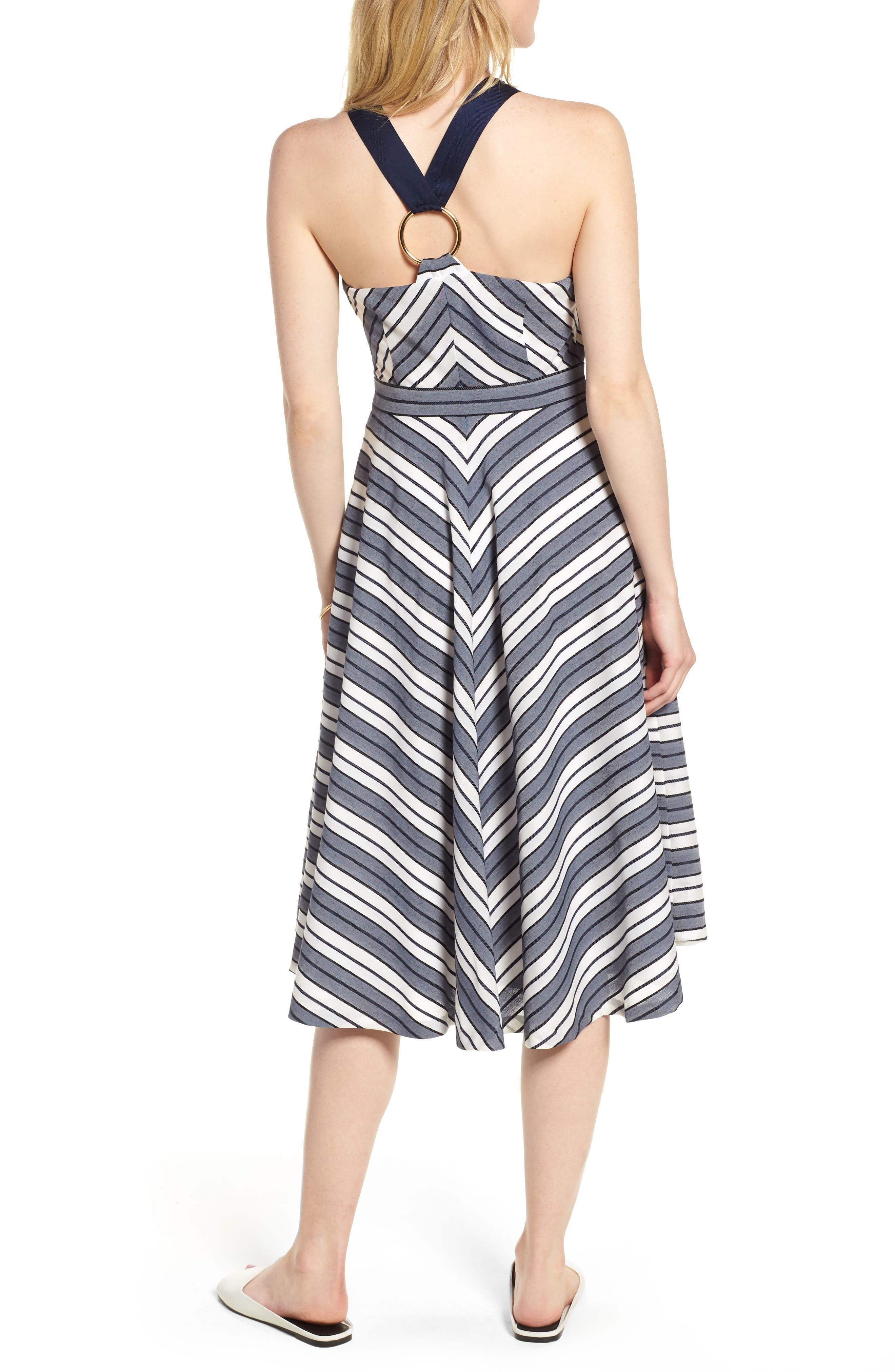 Stripe V-Neck Dress,                             Alternate thumbnail 2, color,                             Navy Stripe