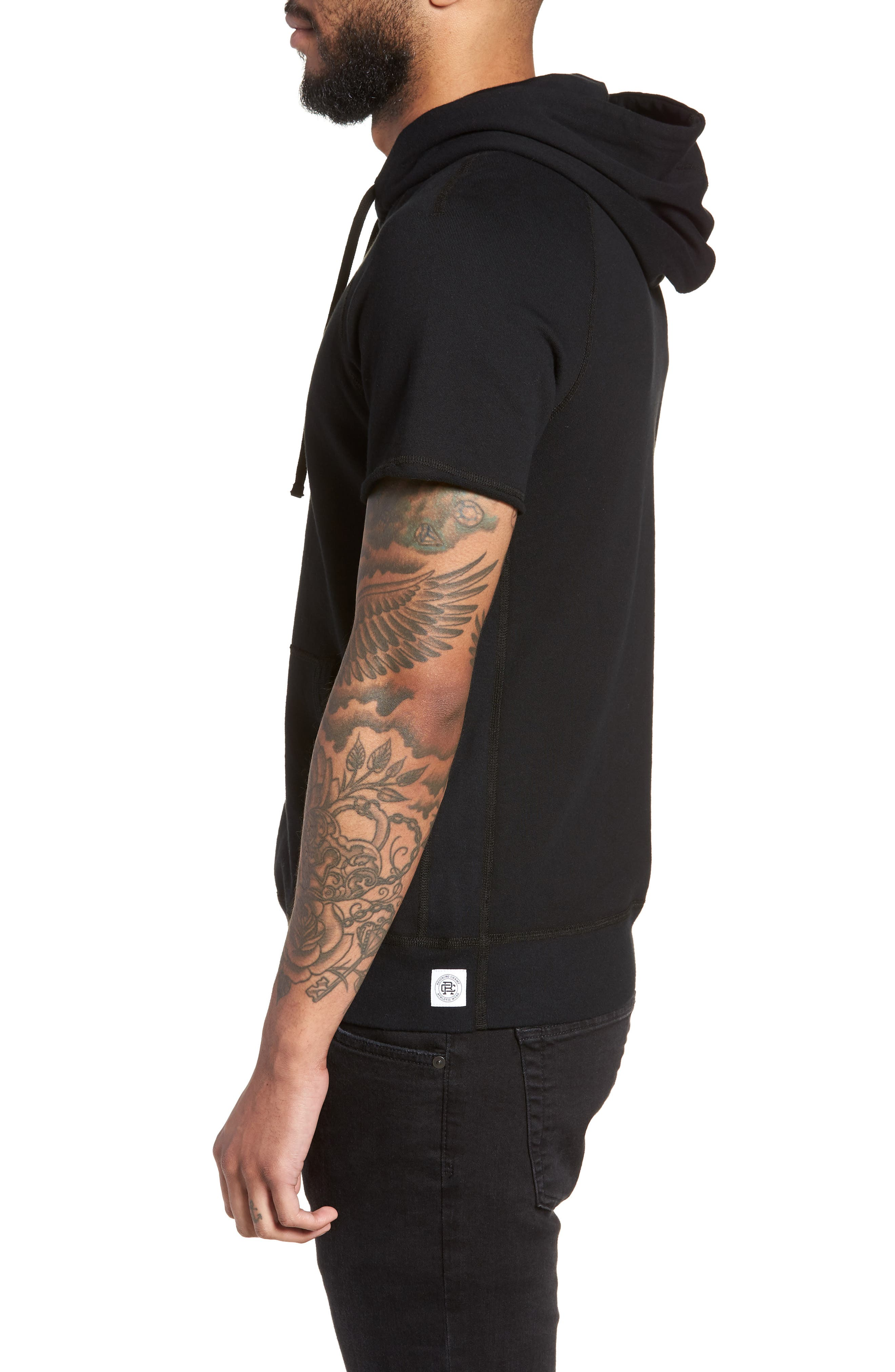 Cutoff Hoodie,                             Alternate thumbnail 3, color,                             Black