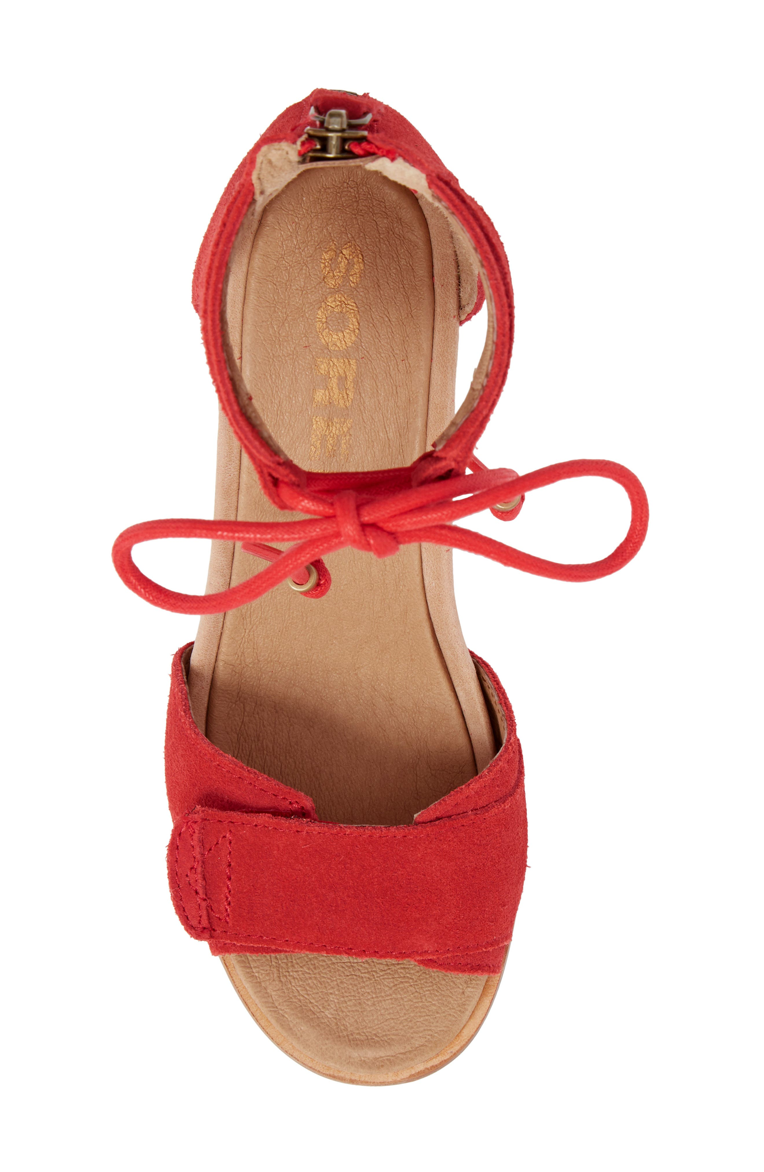 Joanie Cuff Wedge Sandal,                             Alternate thumbnail 5, color,                             Bright Red