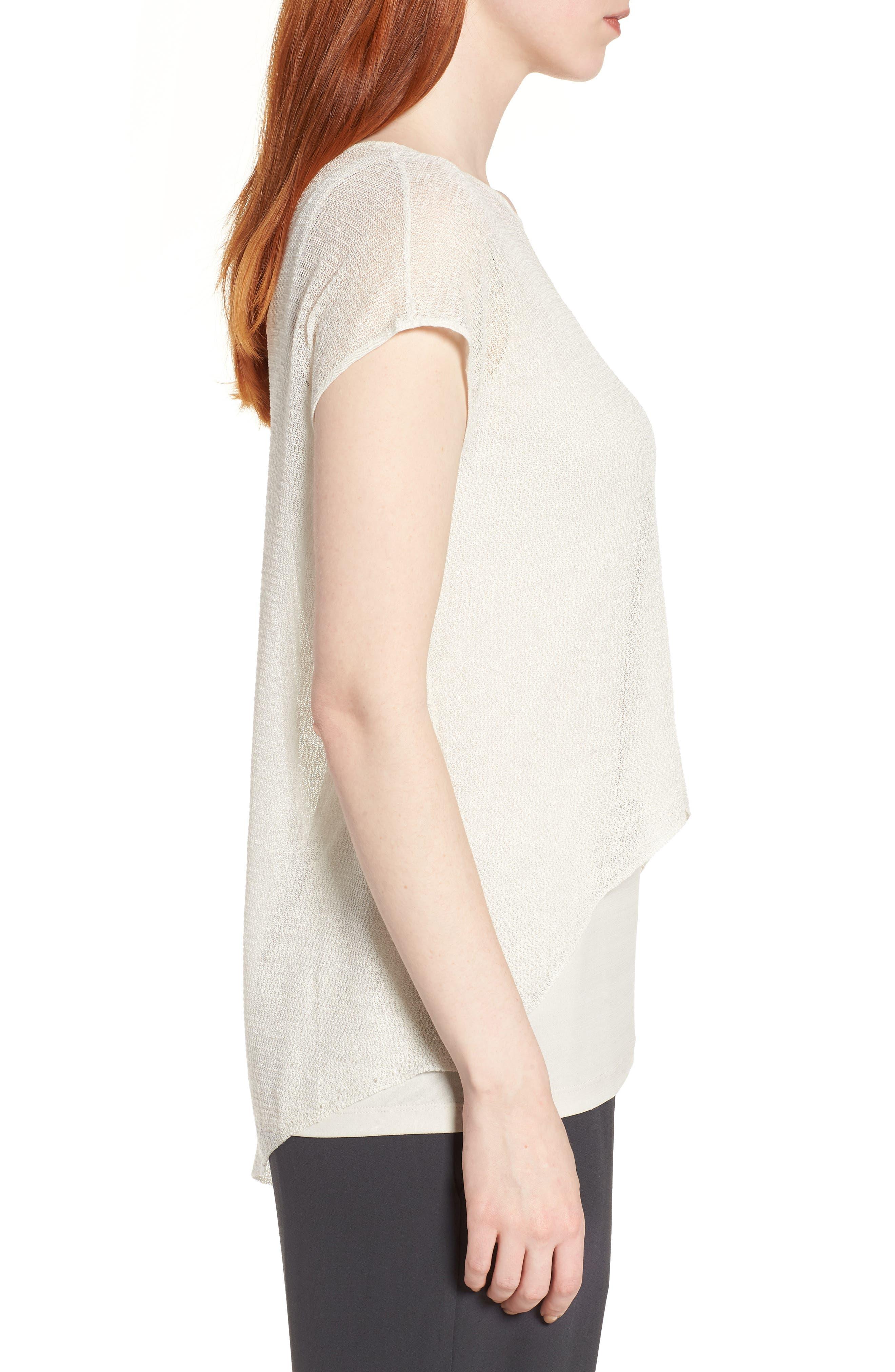 Sheer Asymmetrical Cap Sleeve Sweater,                             Alternate thumbnail 3, color,                             Bone