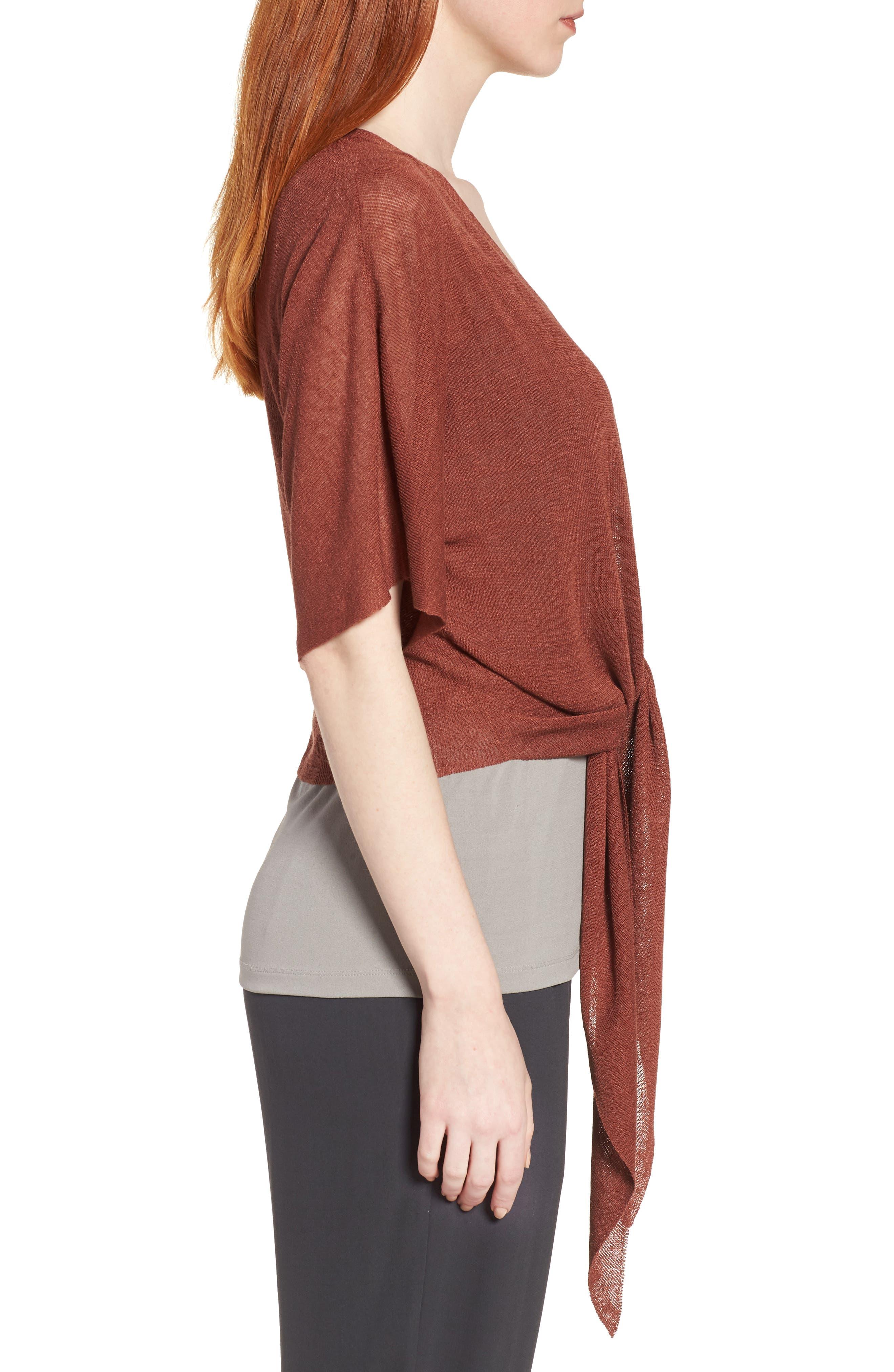 Tie Front Organic Linen Blend Cardigan,                             Alternate thumbnail 3, color,                             Russet