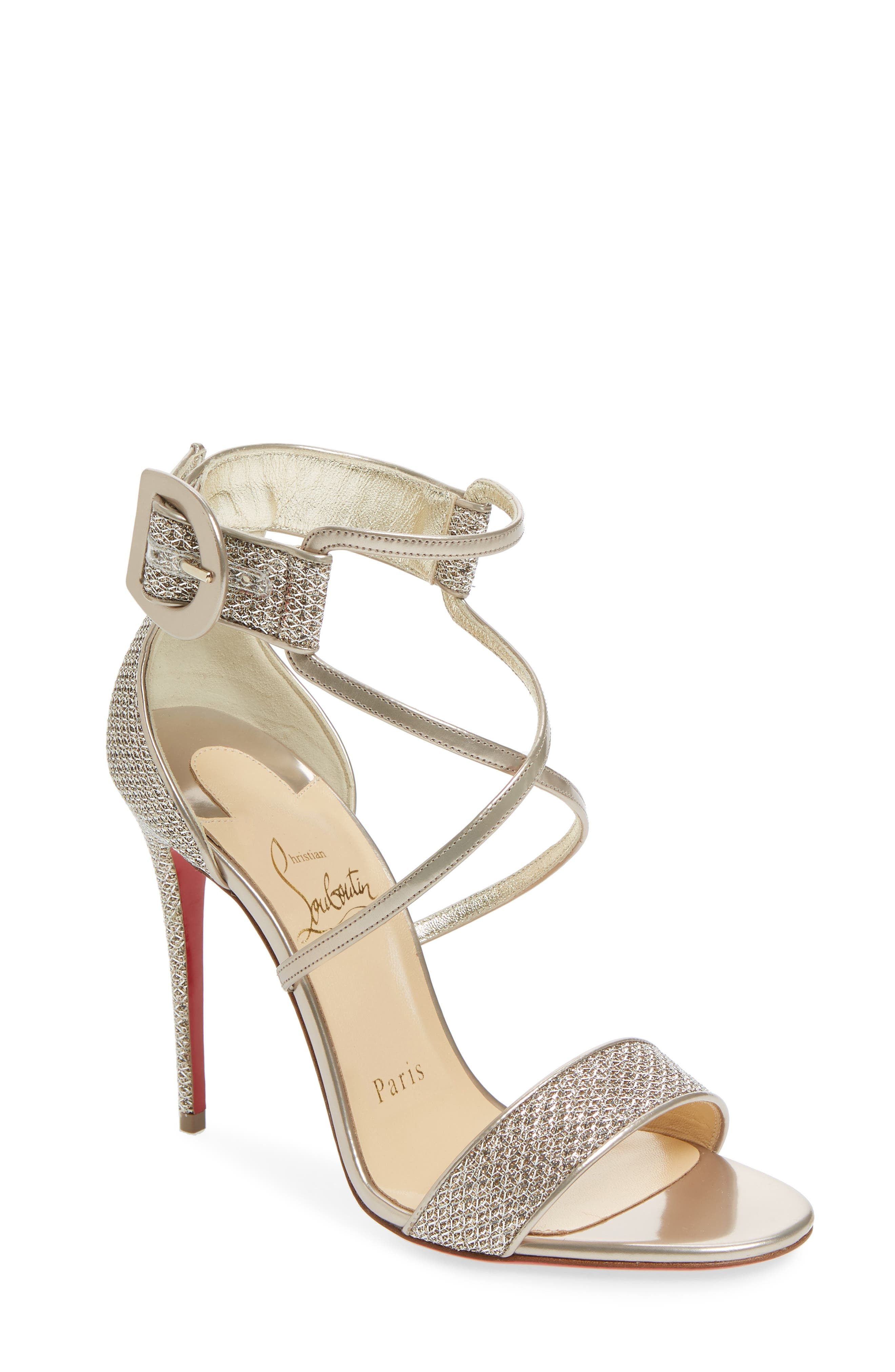 52169679f8c9 Christian Louboutin Choca Leather   Glitter Sandals In Colombe ...