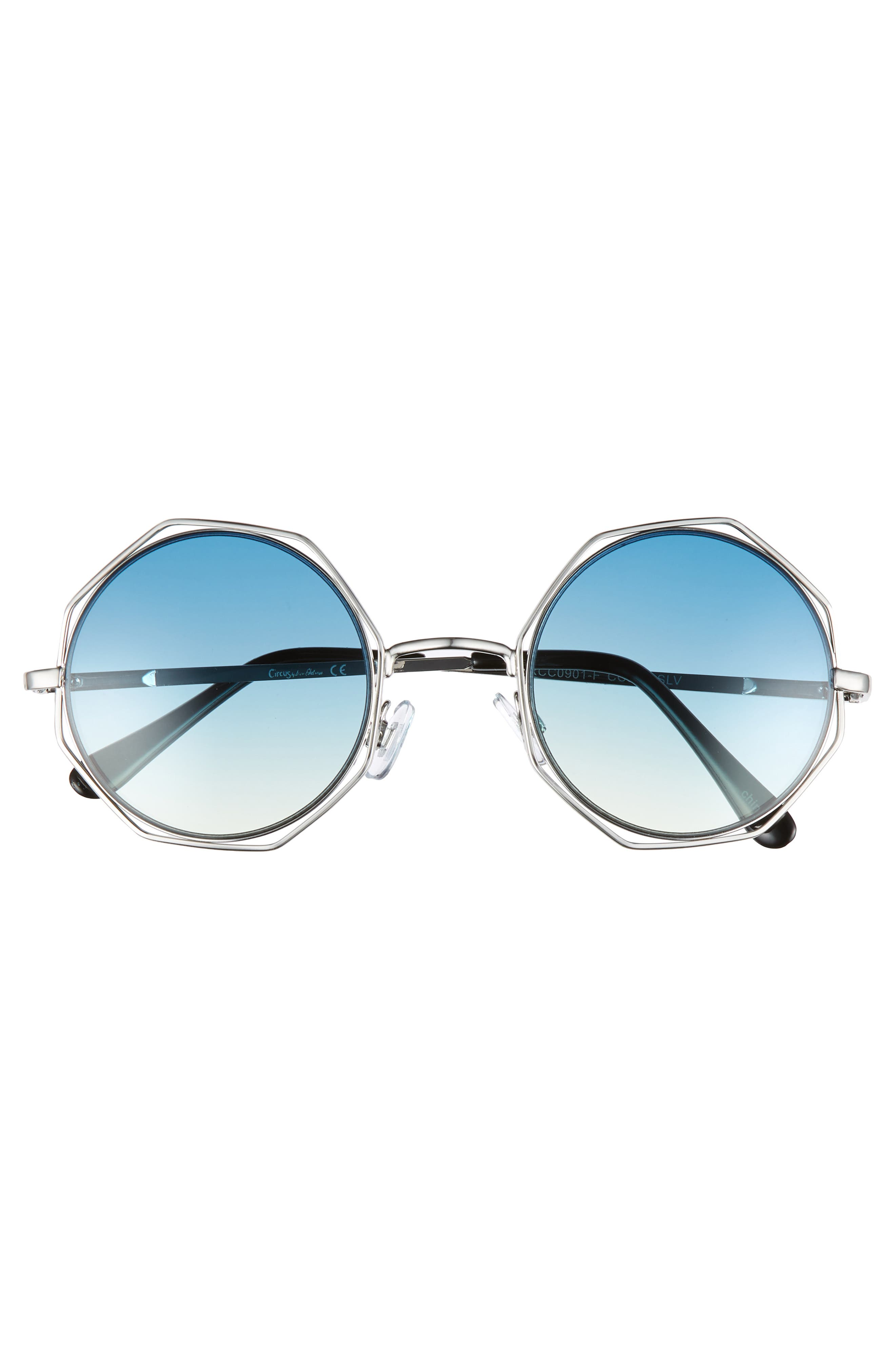 50mm Round Sunglasses,                             Alternate thumbnail 3, color,                             Silver