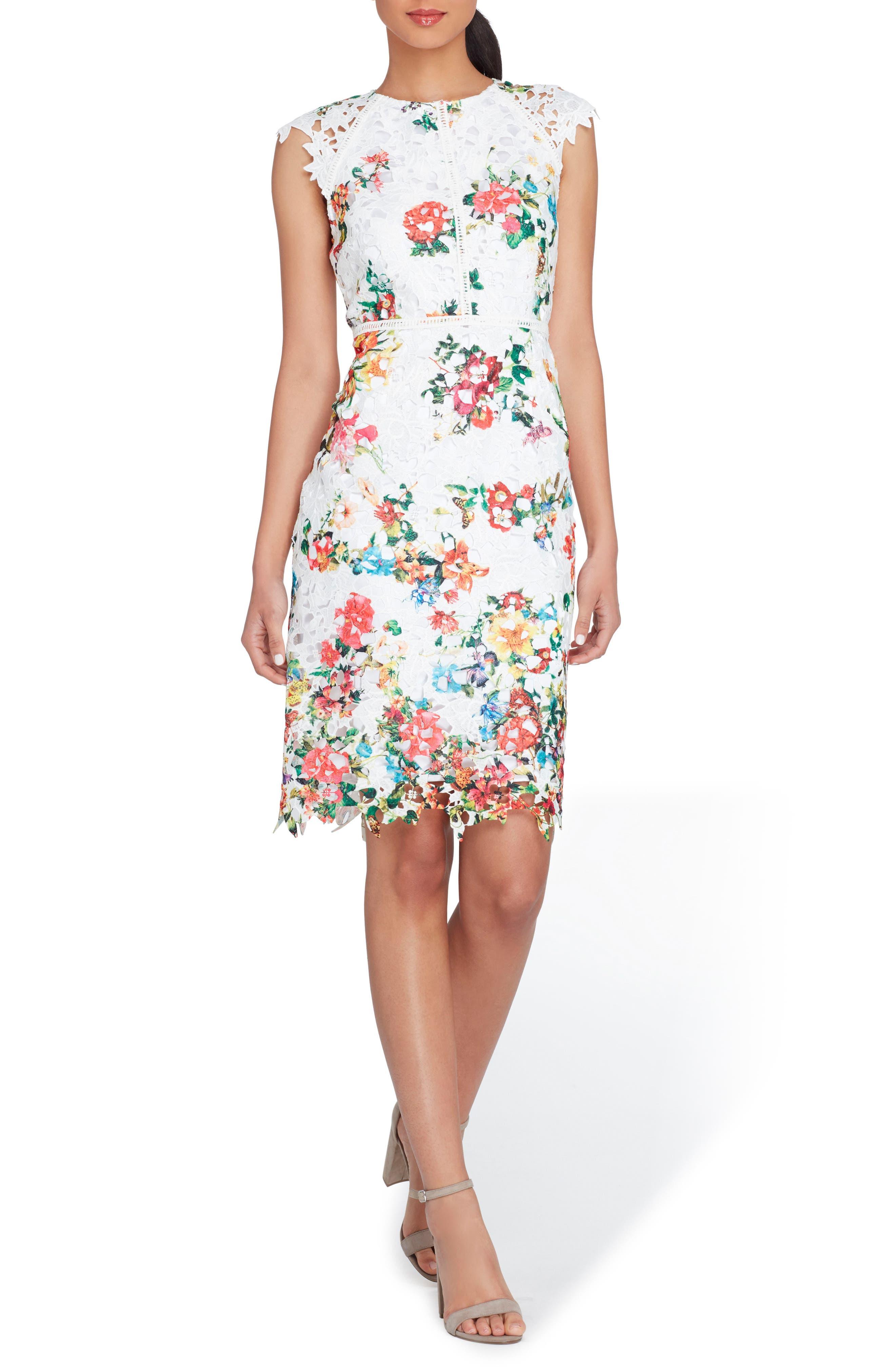 Alternate Image 1 Selected - Tahari Floral Print Lace Sheath Dress