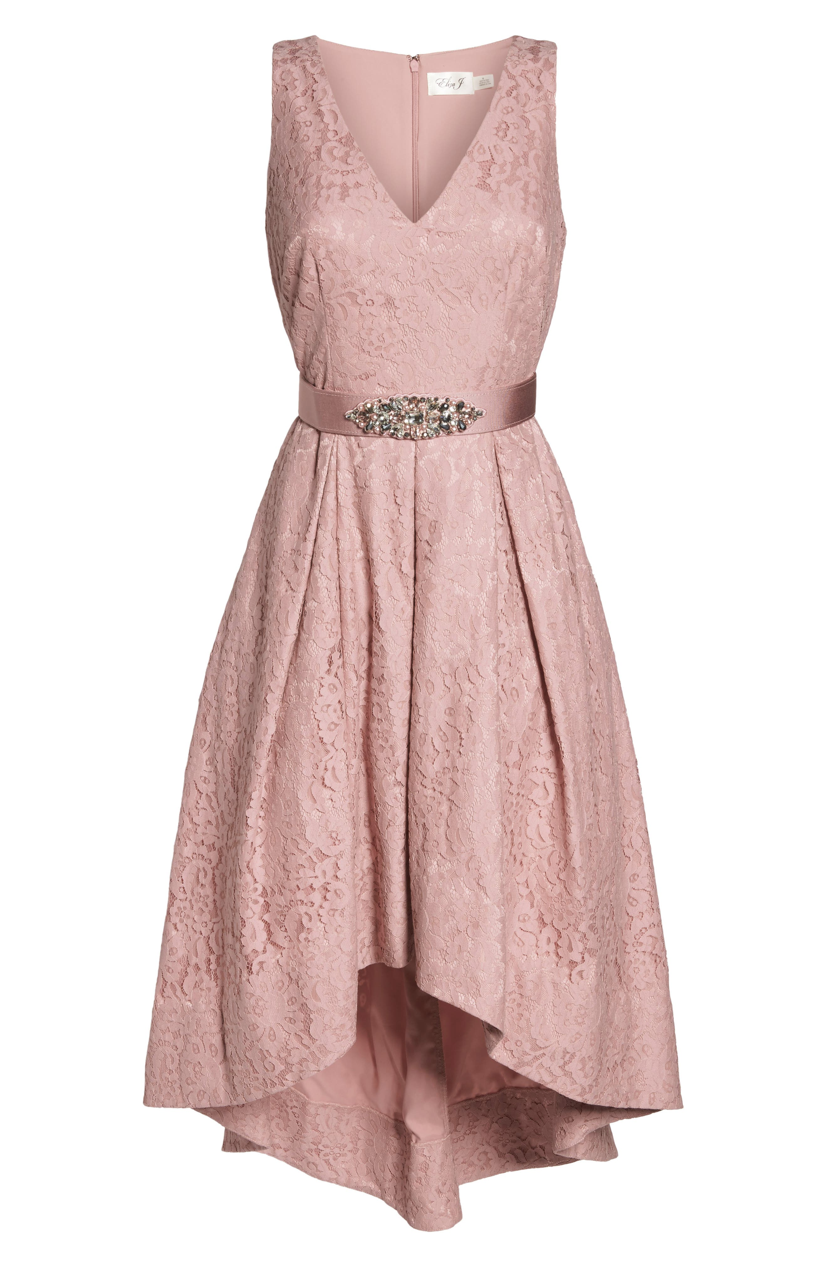Belted Lace High/Low Dress,                             Alternate thumbnail 6, color,                             Blush