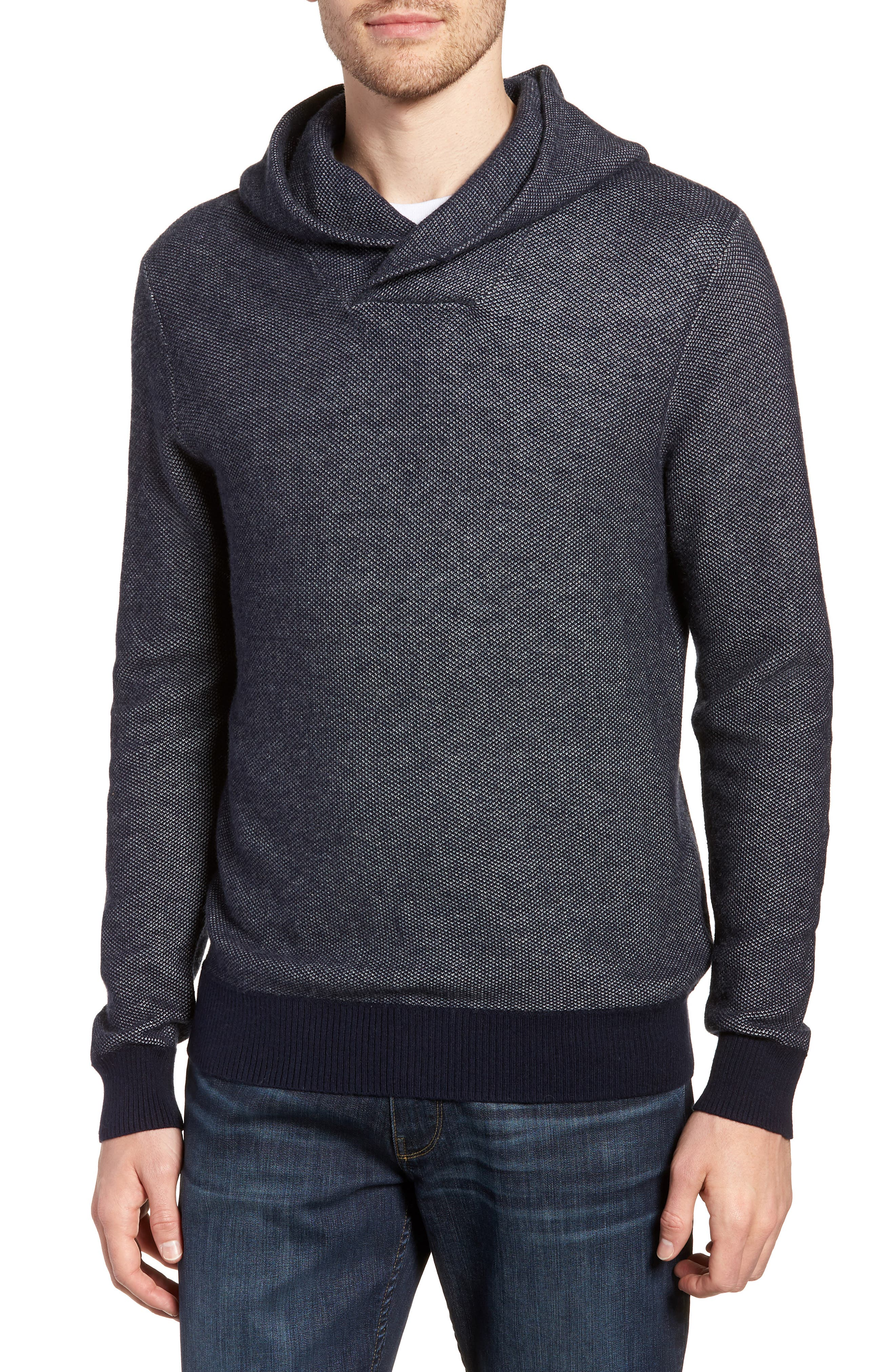 Cotton & Cashmere Hoodie,                         Main,                         color, Midnight Blue/ Heather Silver