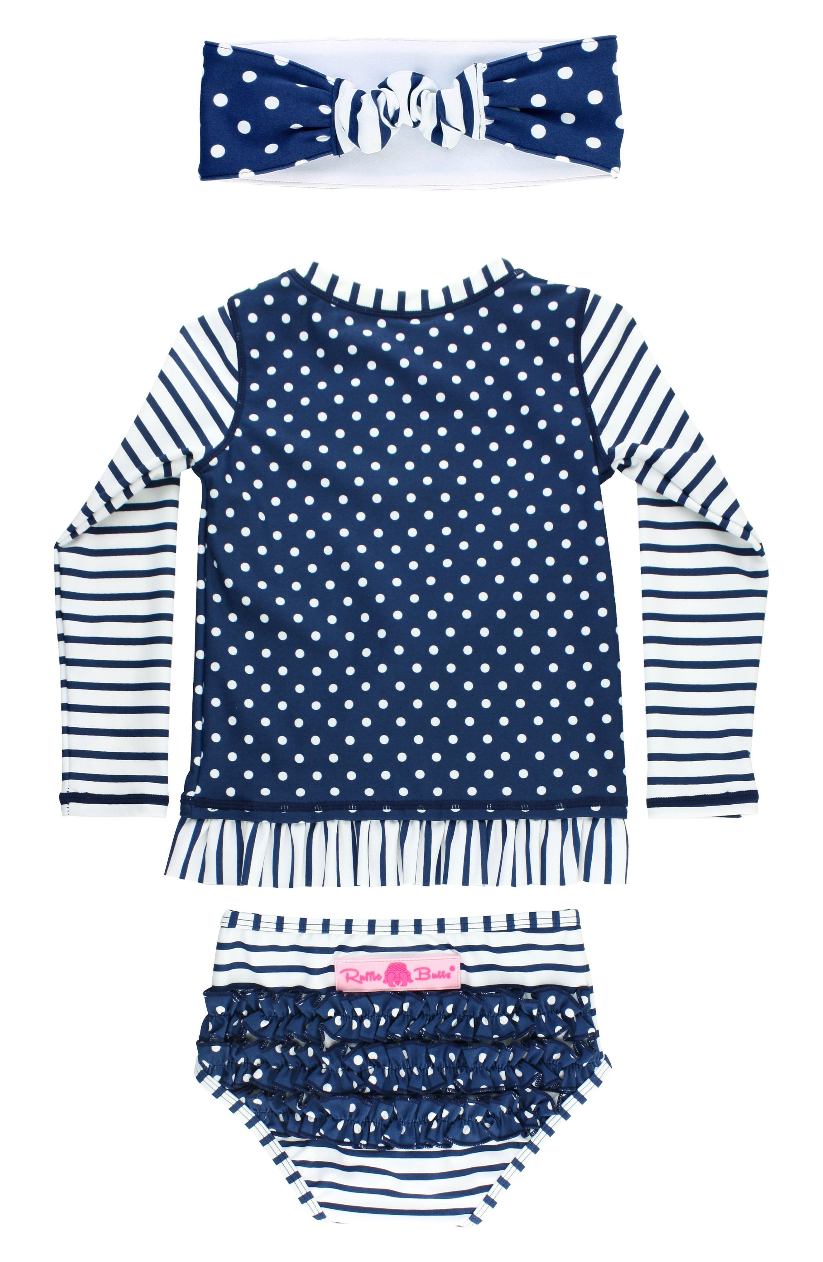Alternate Image 2  - RuffleButts Two-Piece Rashguard Swimsuit & Headband Set (Toddler Girls)