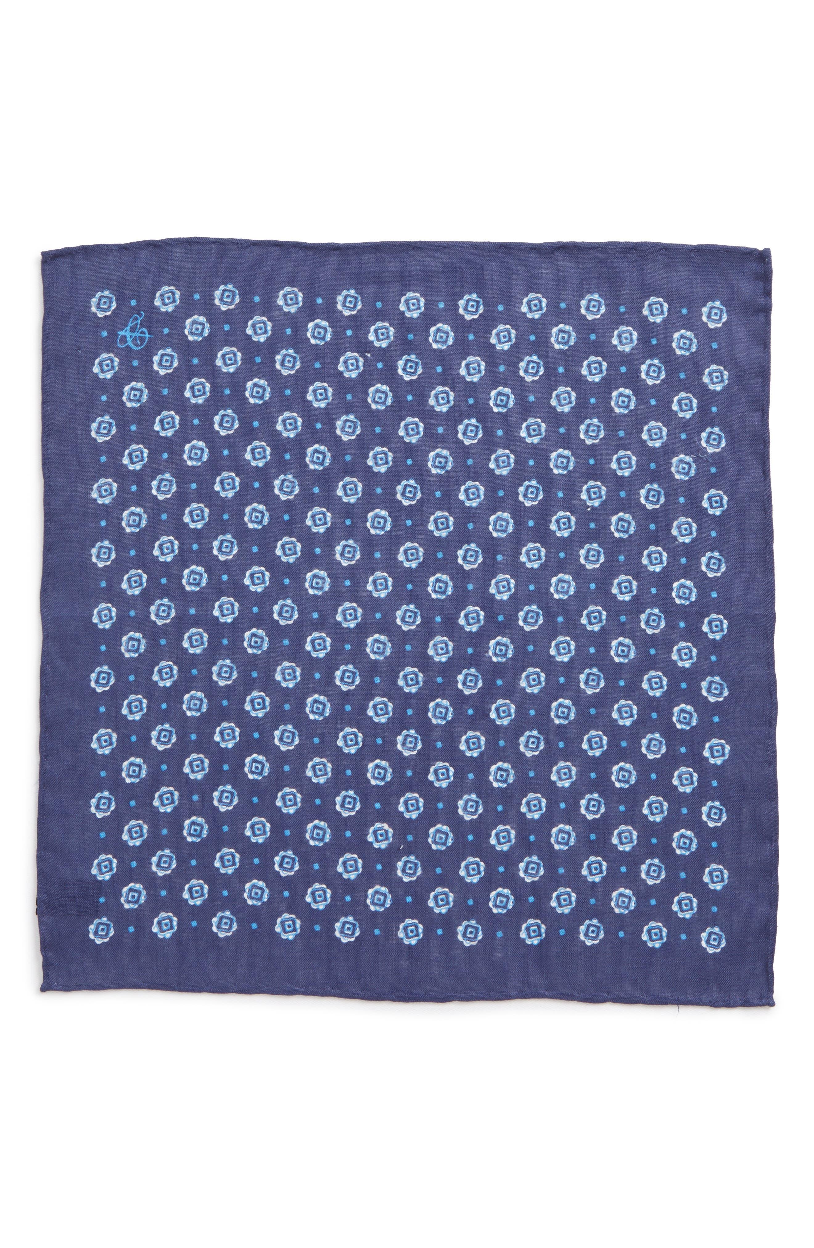 Medallion Linen Pocket Square,                             Alternate thumbnail 2, color,                             Dark Blue