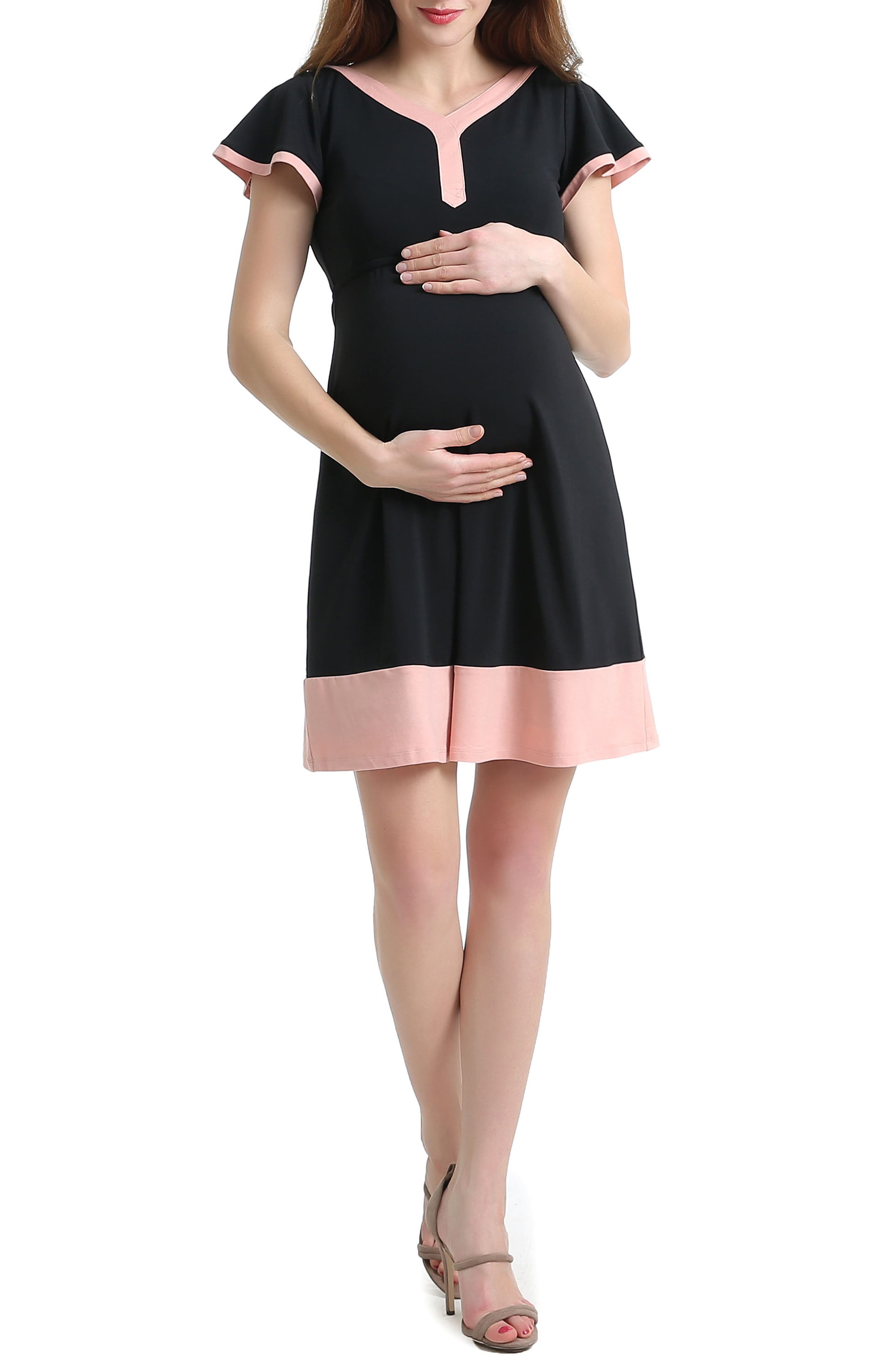 Regan Colorblock Skater Maternity Dress,                             Main thumbnail 1, color,                             Black