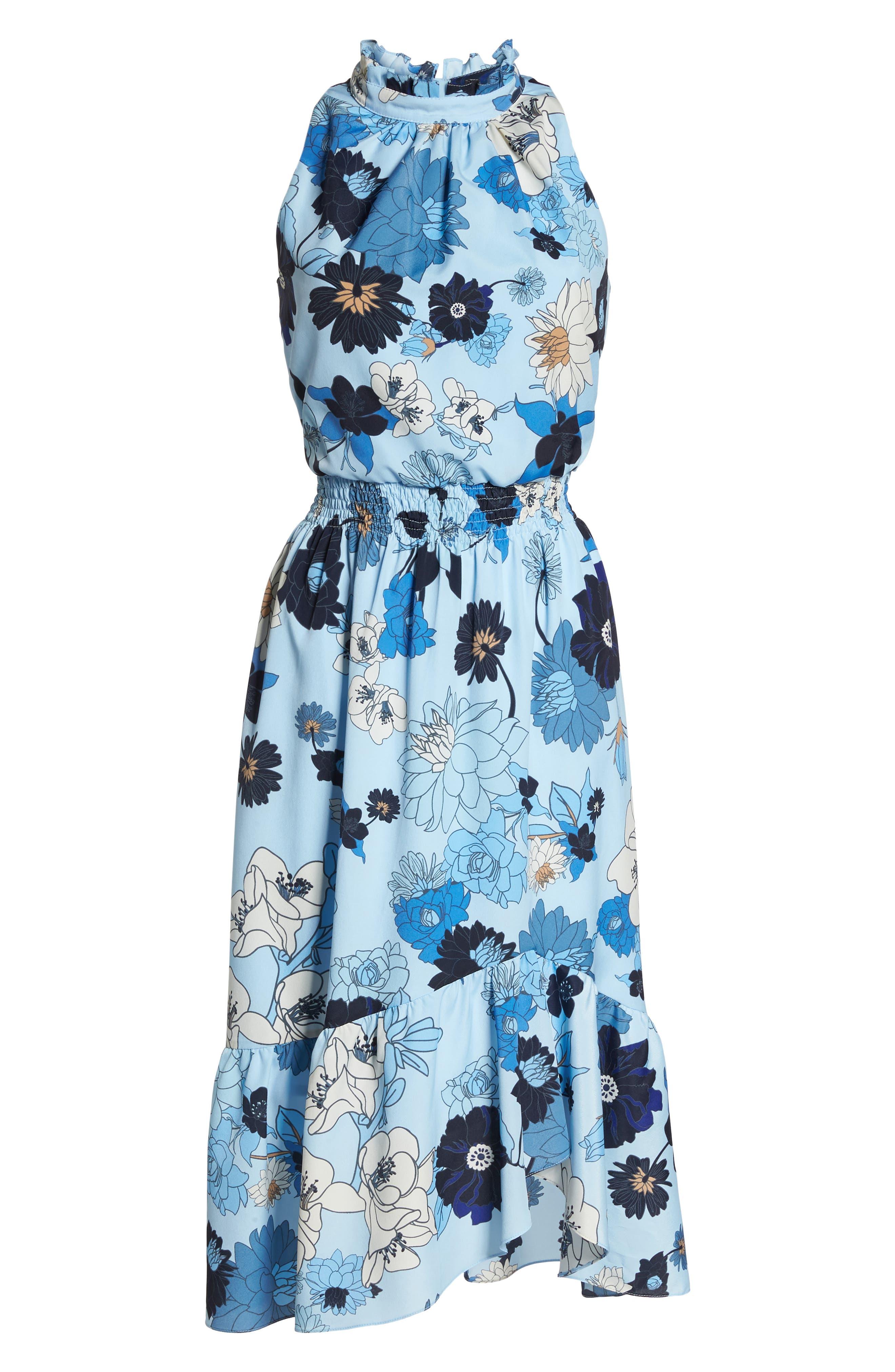 Floral Blouson Midi Dress,                             Alternate thumbnail 7, color,                             Light Blue