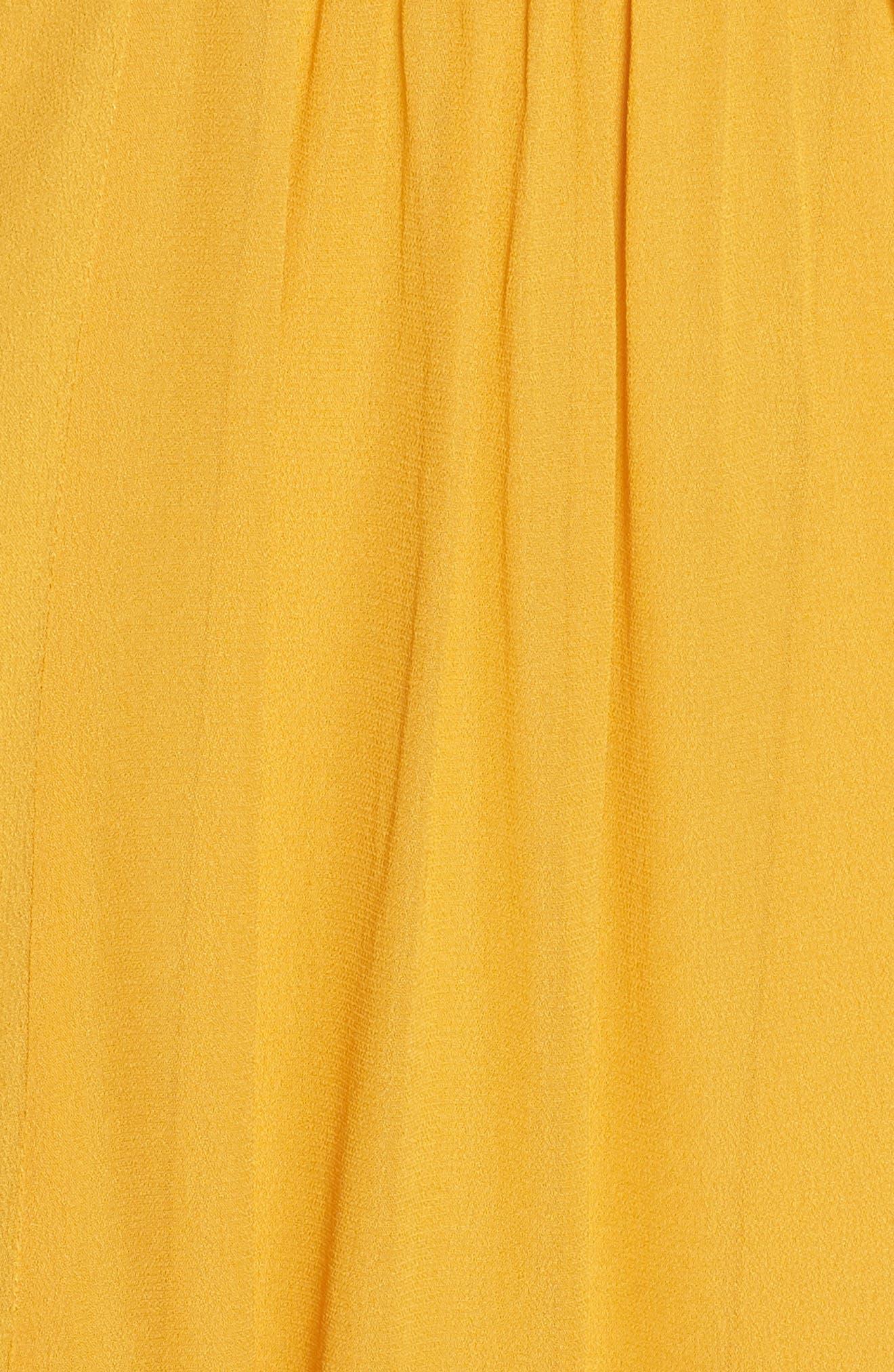 Embroidered Yoke Trapeze Dress,                             Alternate thumbnail 6, color,                             Ochre