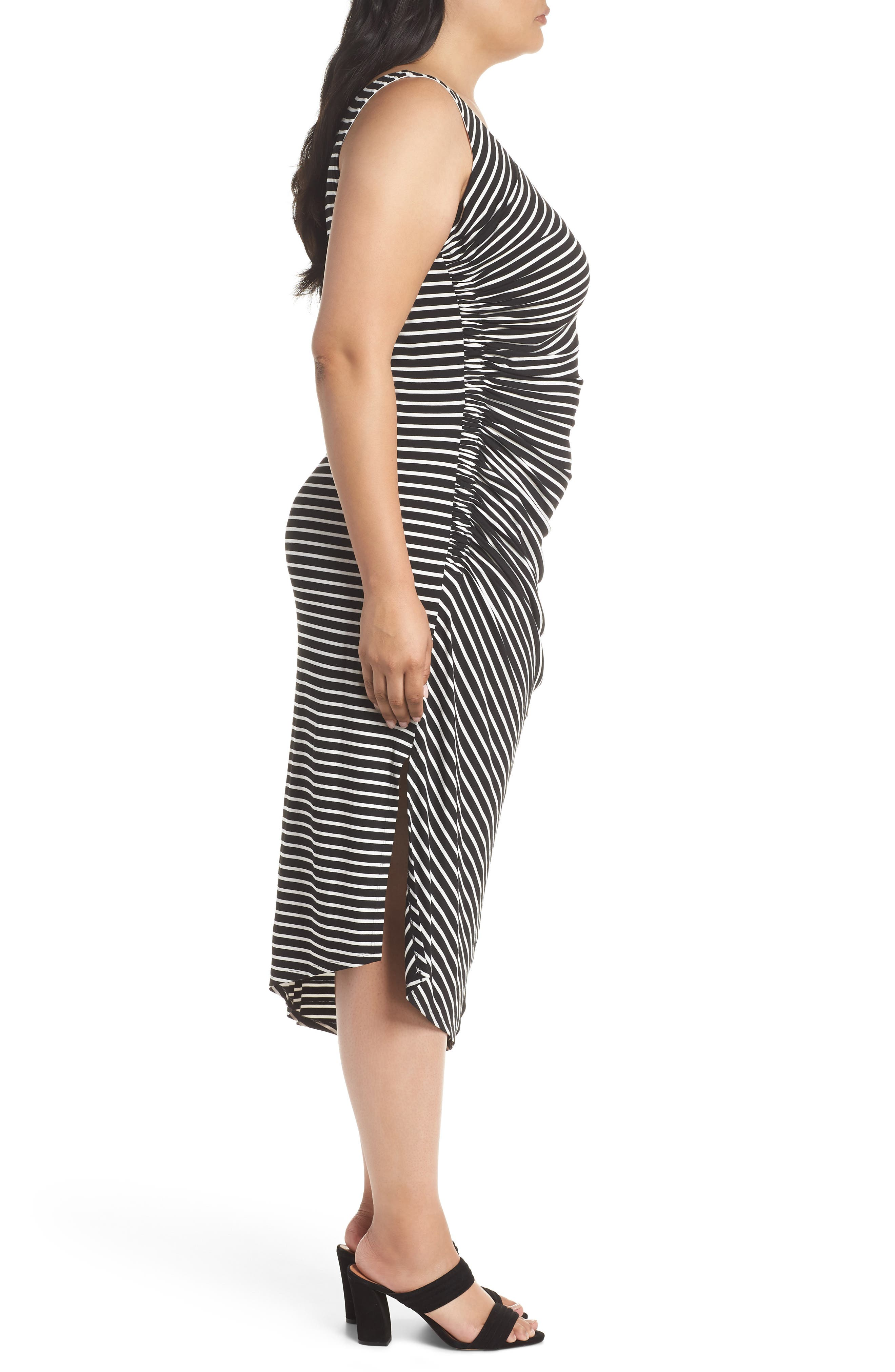 Amalfi Side Ruched Stripe Body-Con Dress,                             Alternate thumbnail 3, color,                             Rich Black