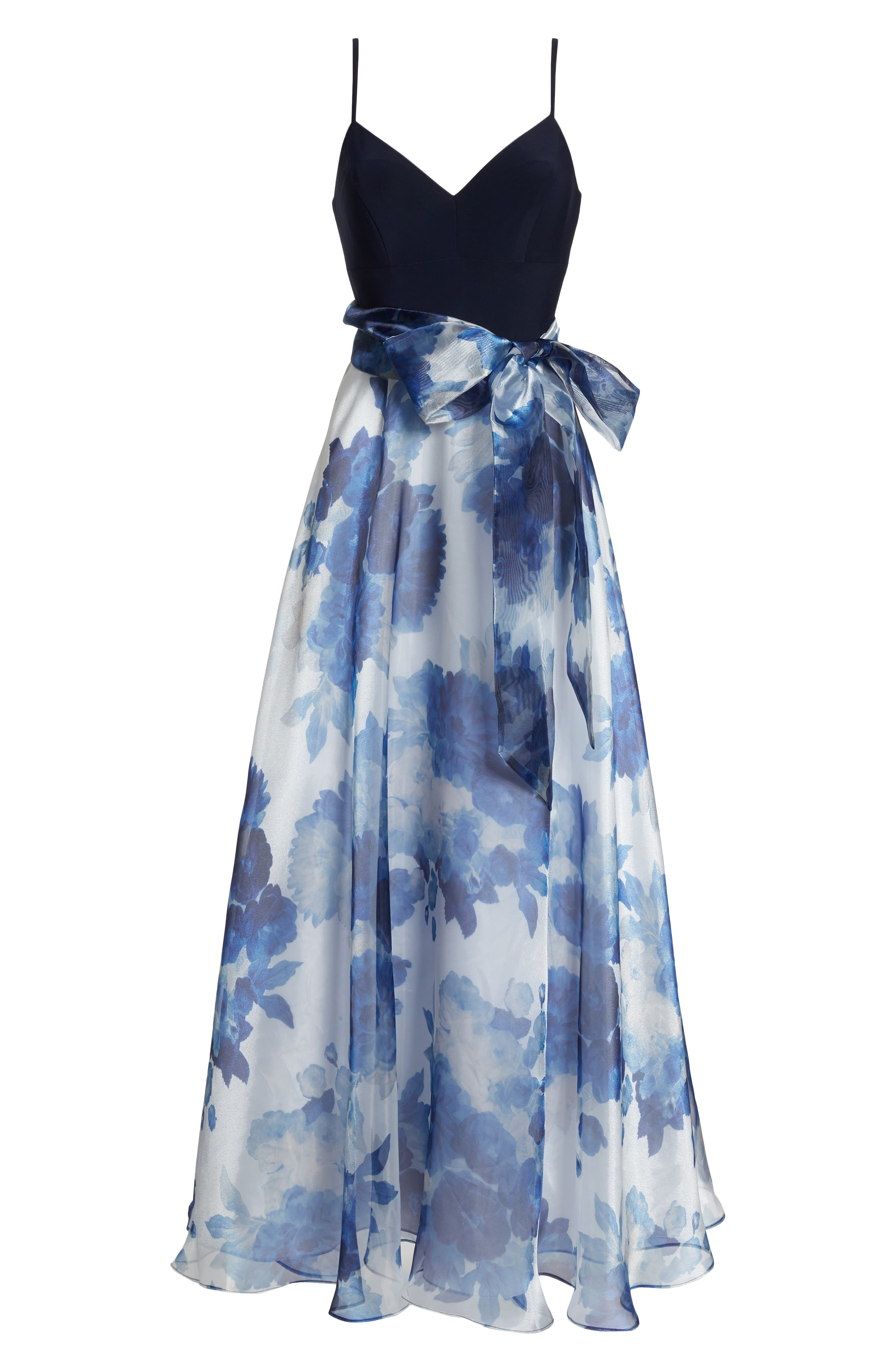 Floral Organza Gown,                             Alternate thumbnail 6, color,                             Navy Multi