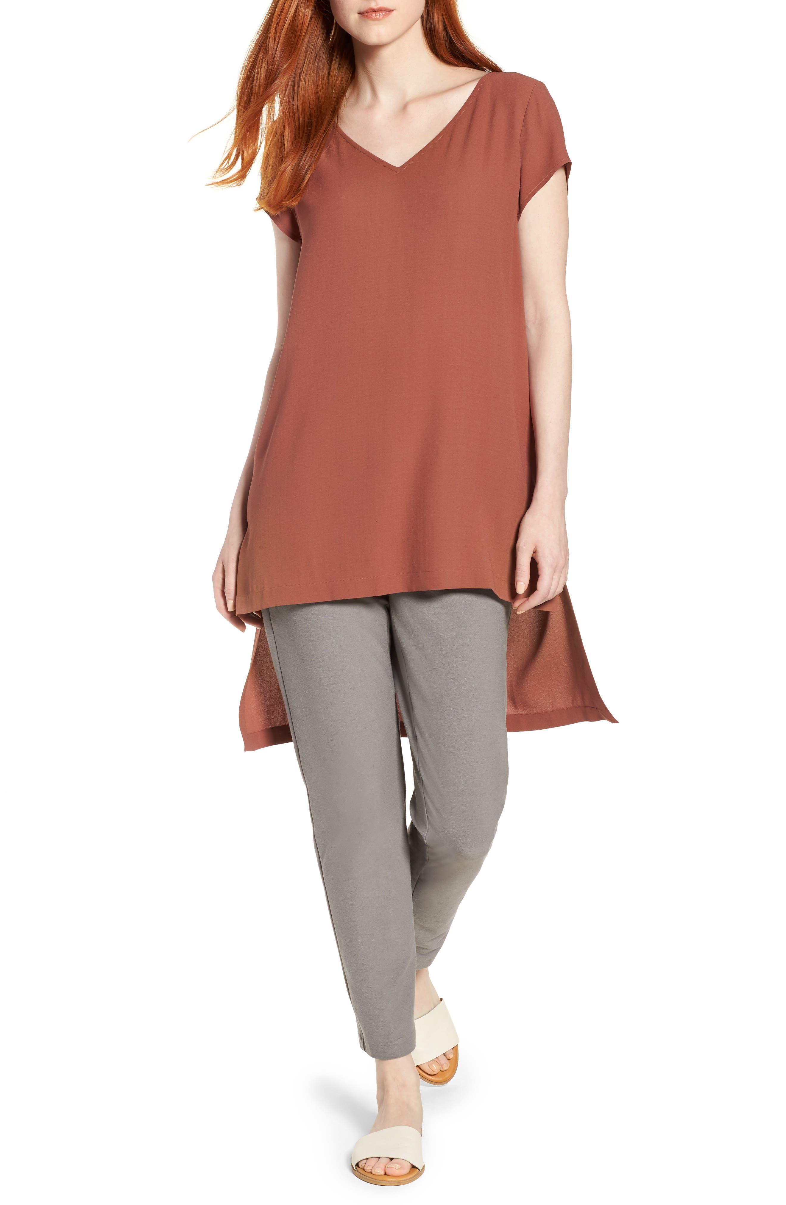 Eileen Fisher High/Low Silk Top