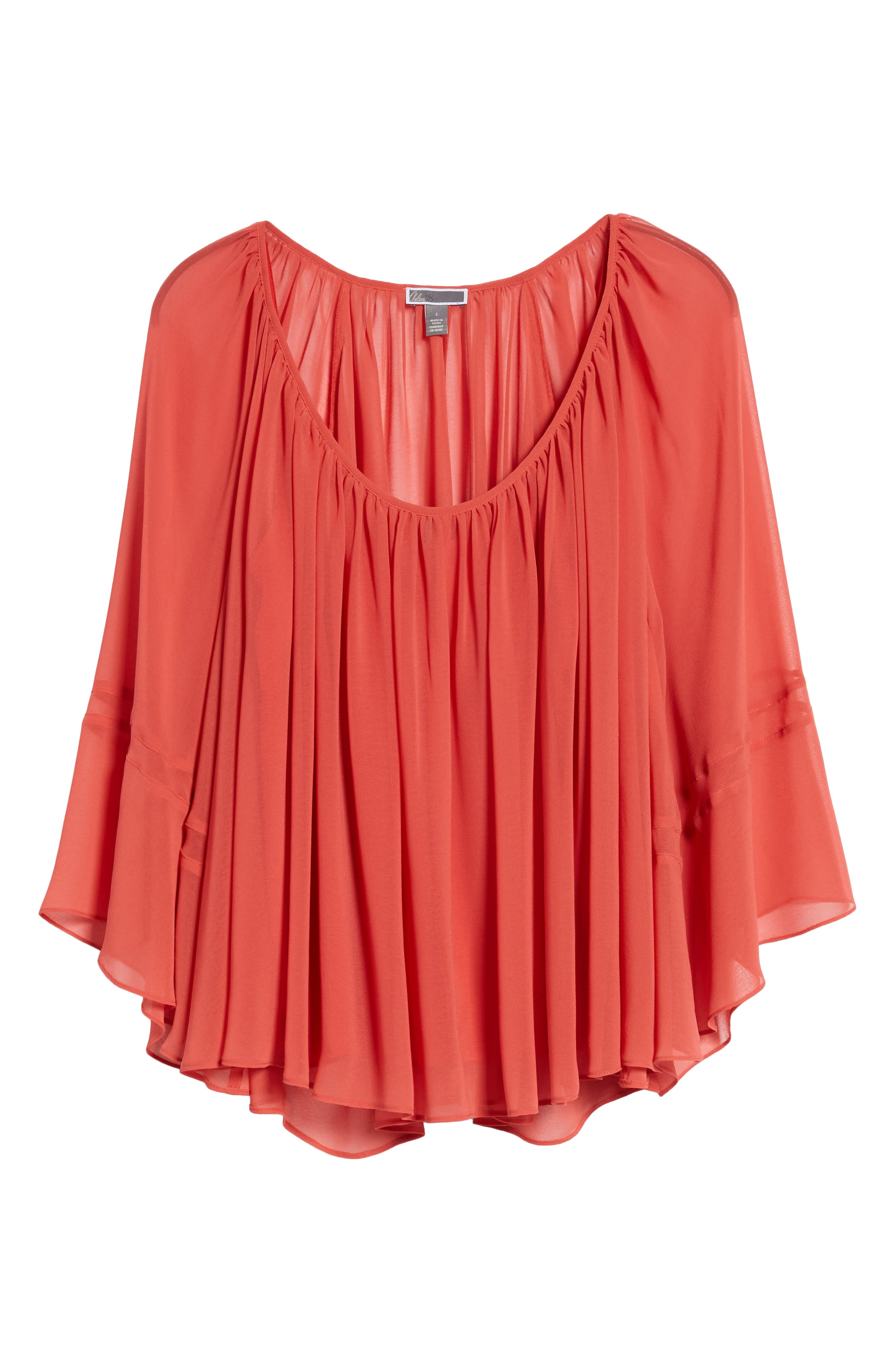 Flowy Chiffon Top,                             Alternate thumbnail 7, color,                             Red Cranberry