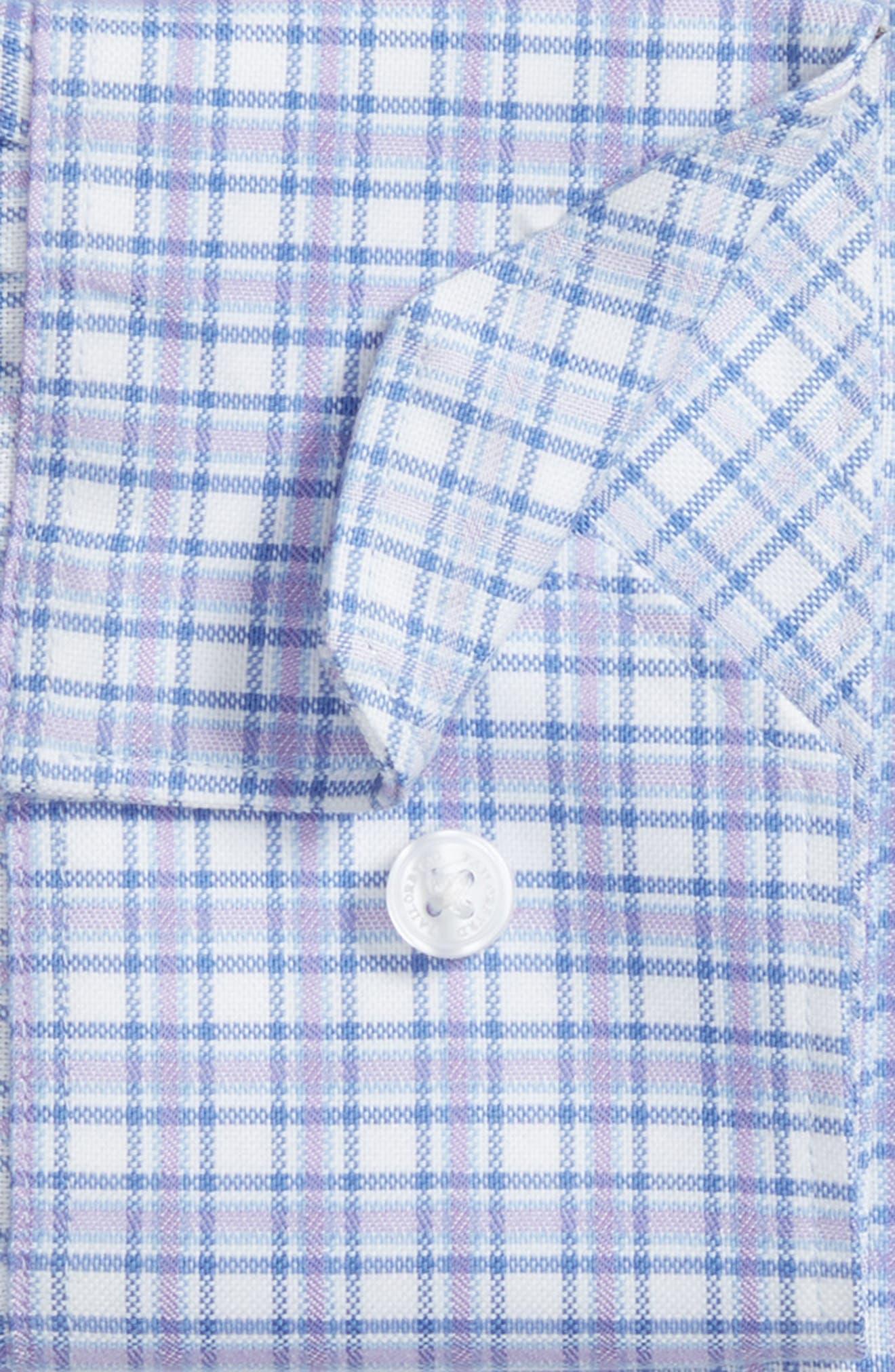 Neil Trim Fit Check Dress Shirt,                             Alternate thumbnail 5, color,                             Lavender