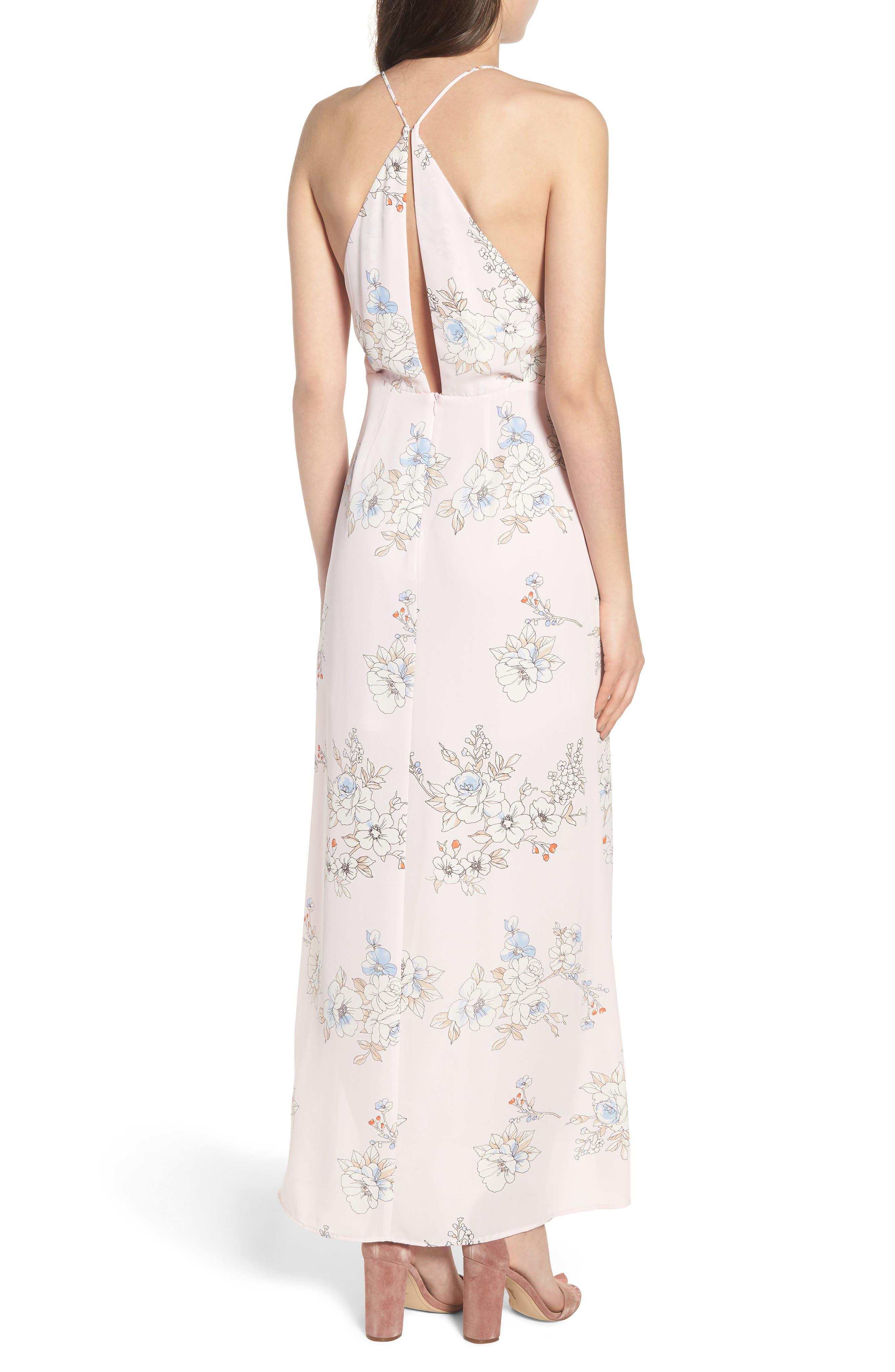 Surplice Maxi Dress,                             Alternate thumbnail 2, color,                             Pale Pink Floral