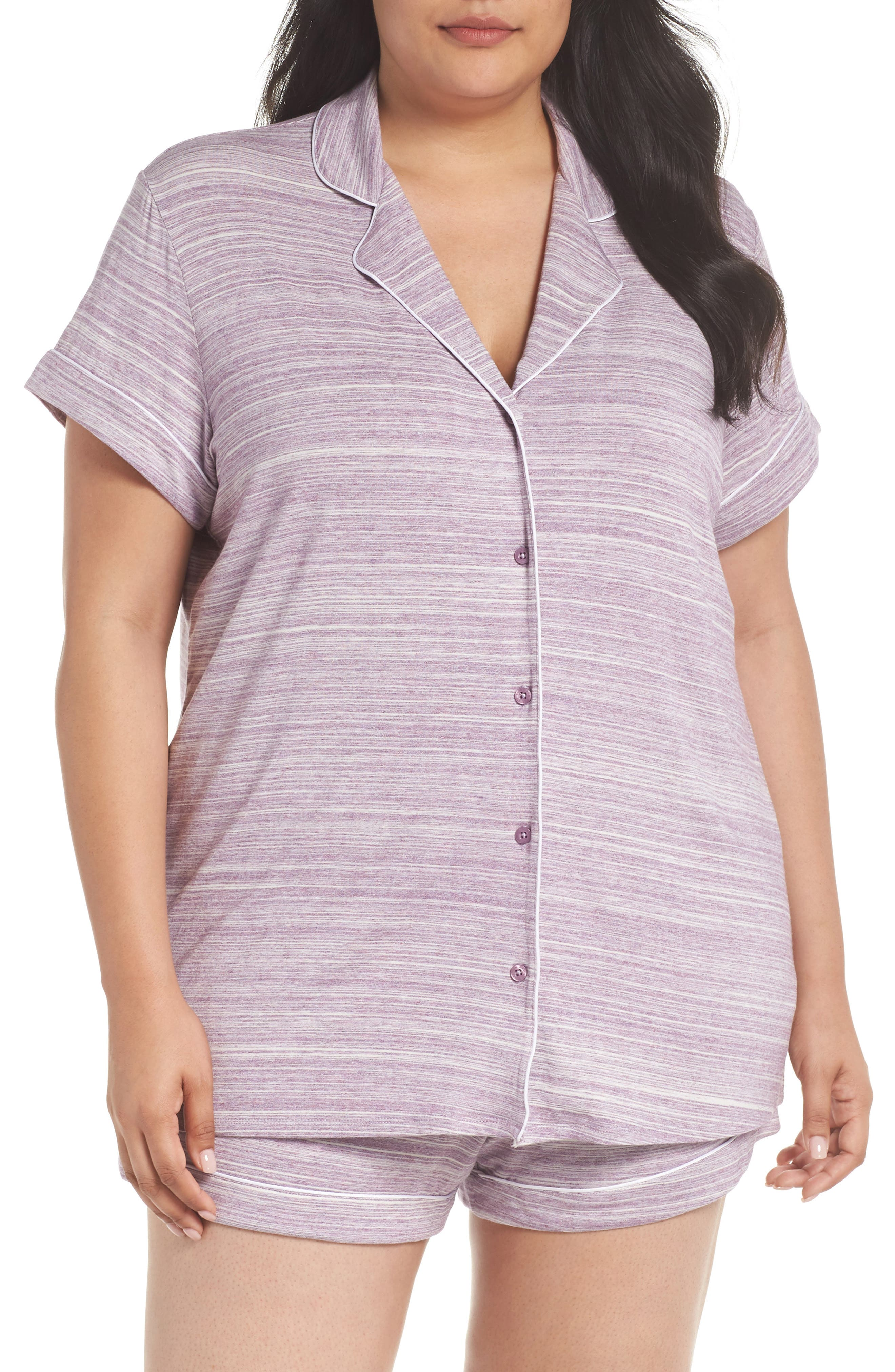 'Moonlight' Short Pajamas,                             Main thumbnail 1, color,                             Purple Spacedye