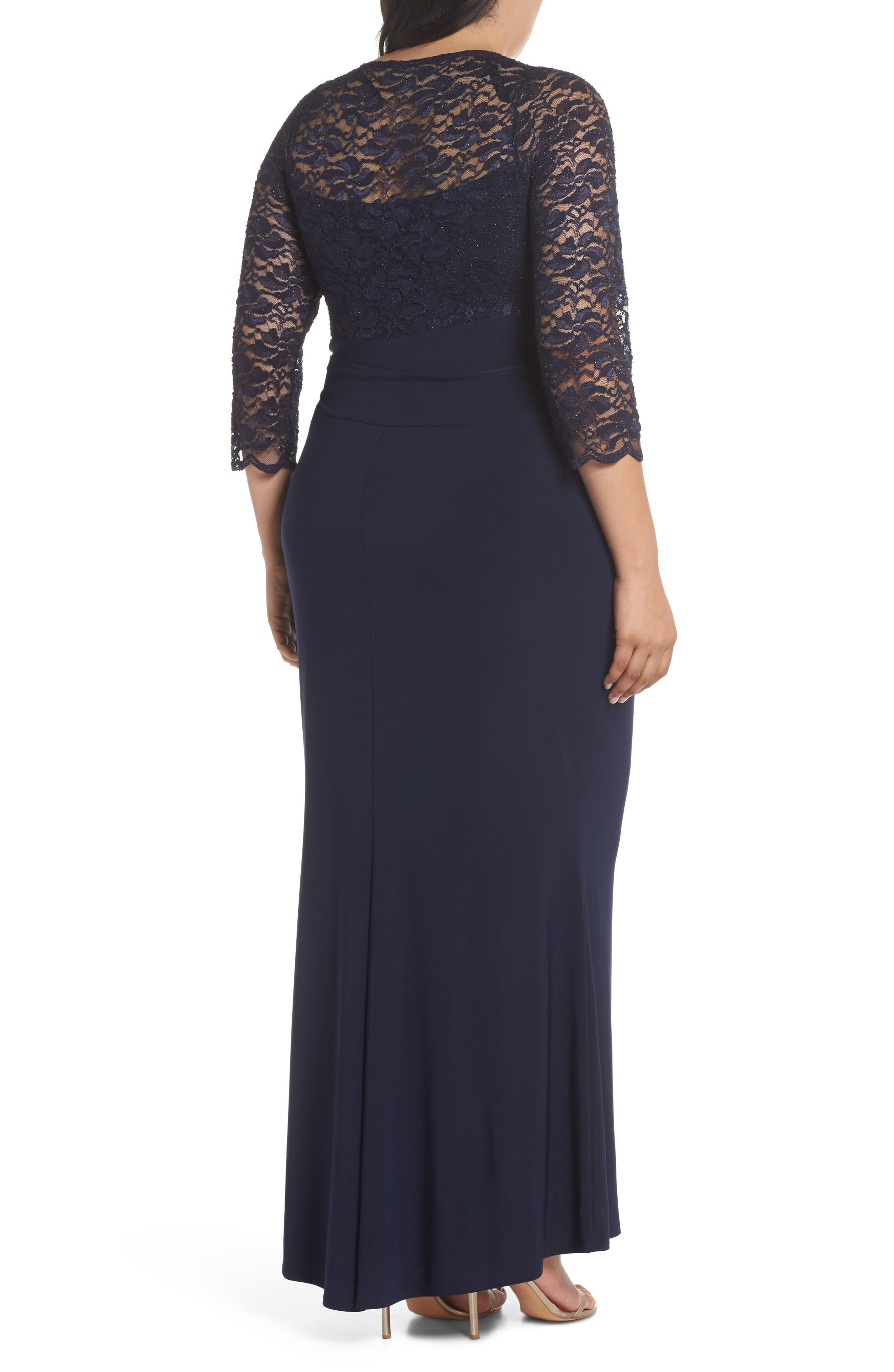 Alternate Image 2  - Marina Cascade Lace & Jersey Gown (Plus Size)