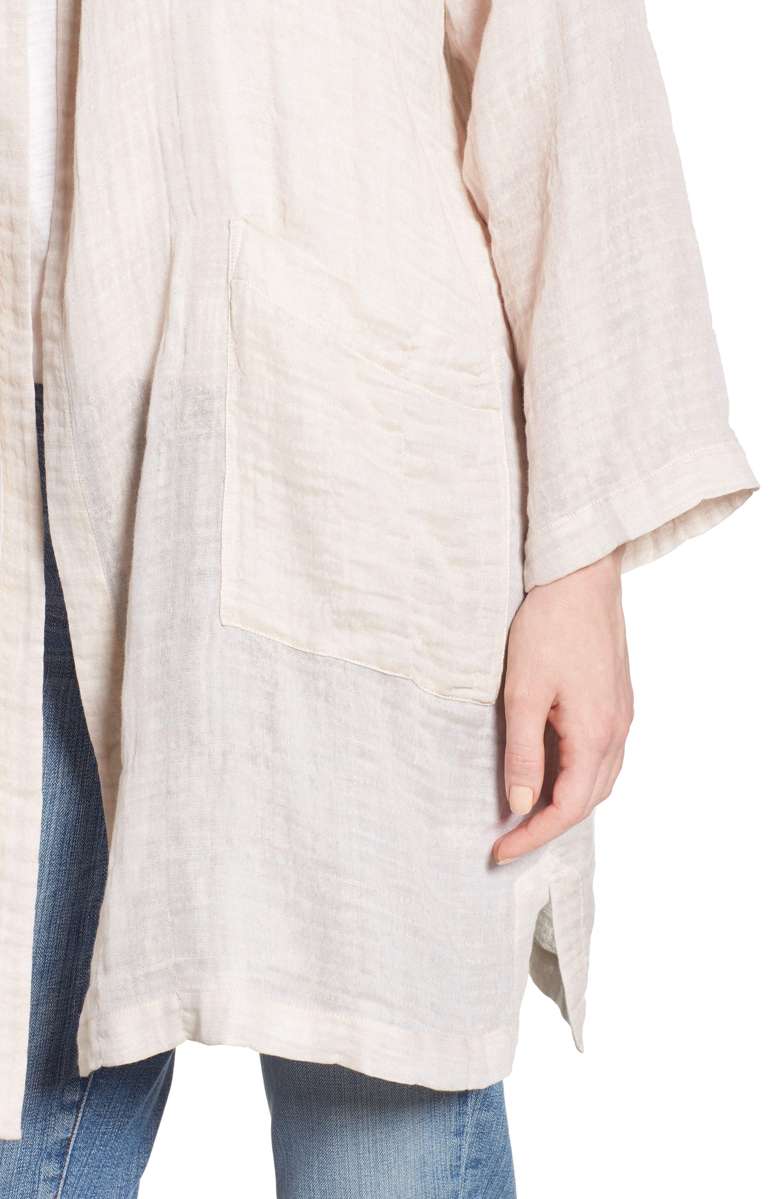 Linen Blend Kimono Jacket,                             Alternate thumbnail 4, color,                             Natural