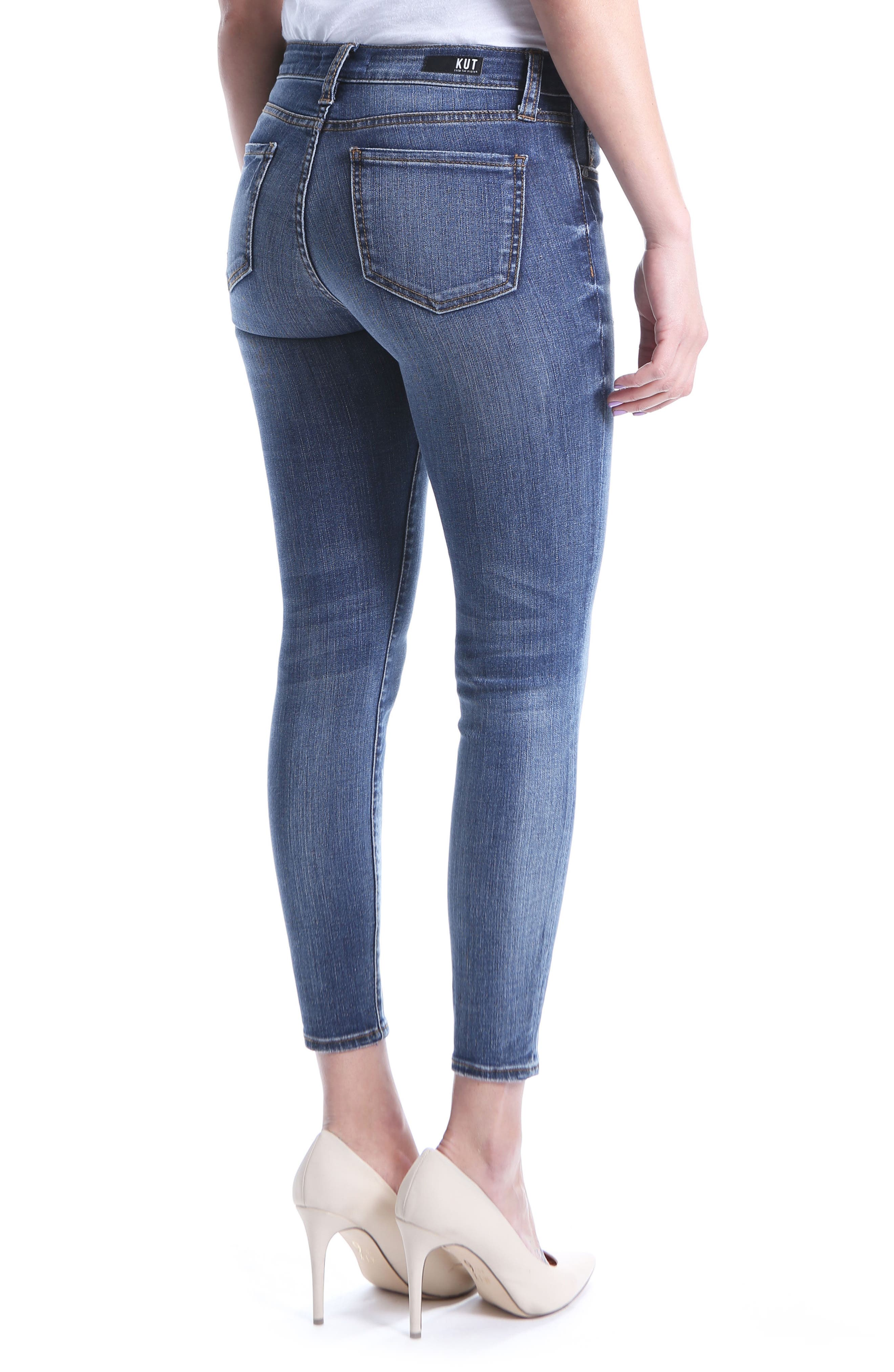 Distressed Seamed Skinny Jeans,                             Alternate thumbnail 2, color,                             Poetic