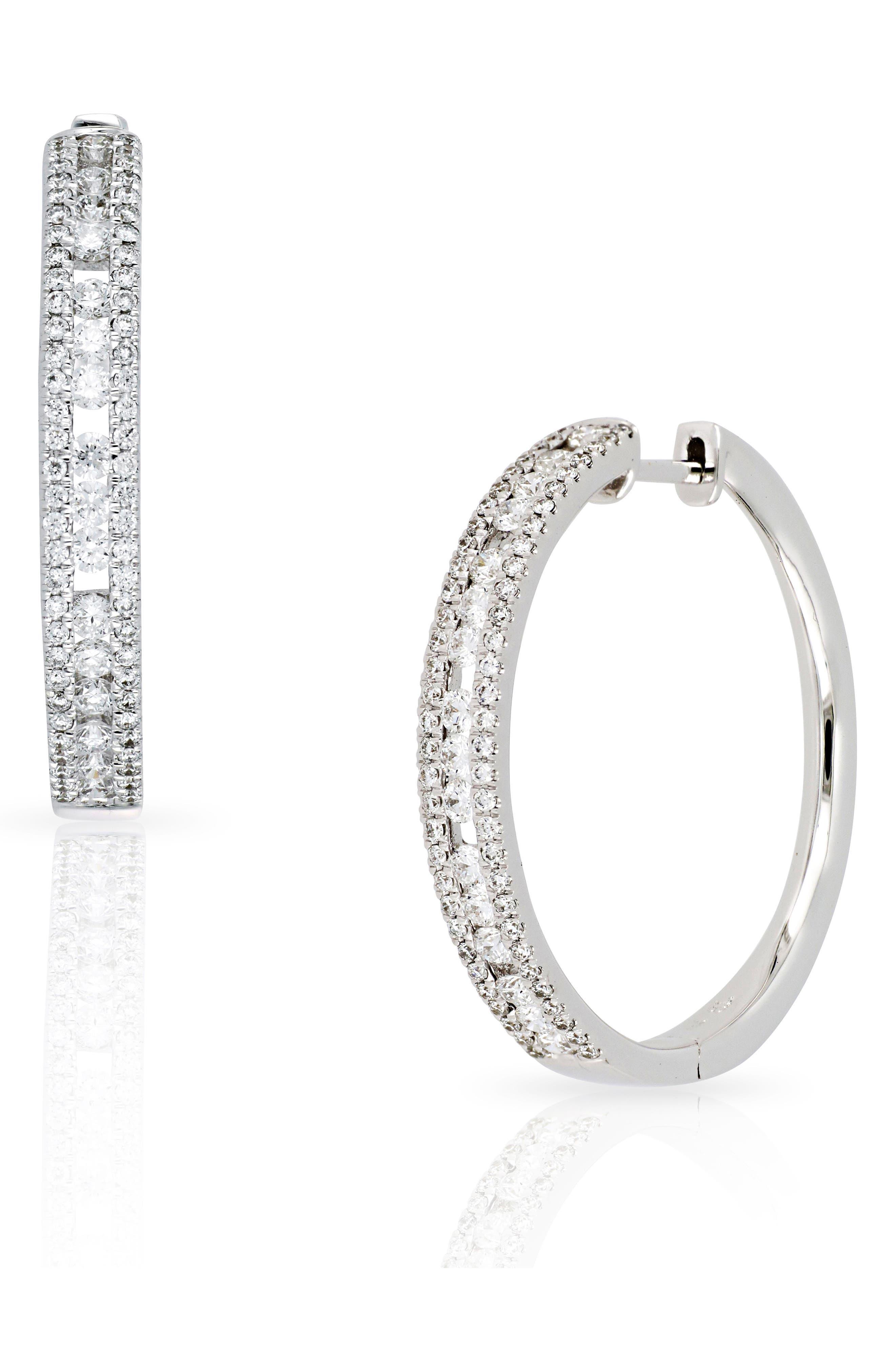 Amara Large Hoop Diamond Earrings,                             Main thumbnail 1, color,                             White Gold