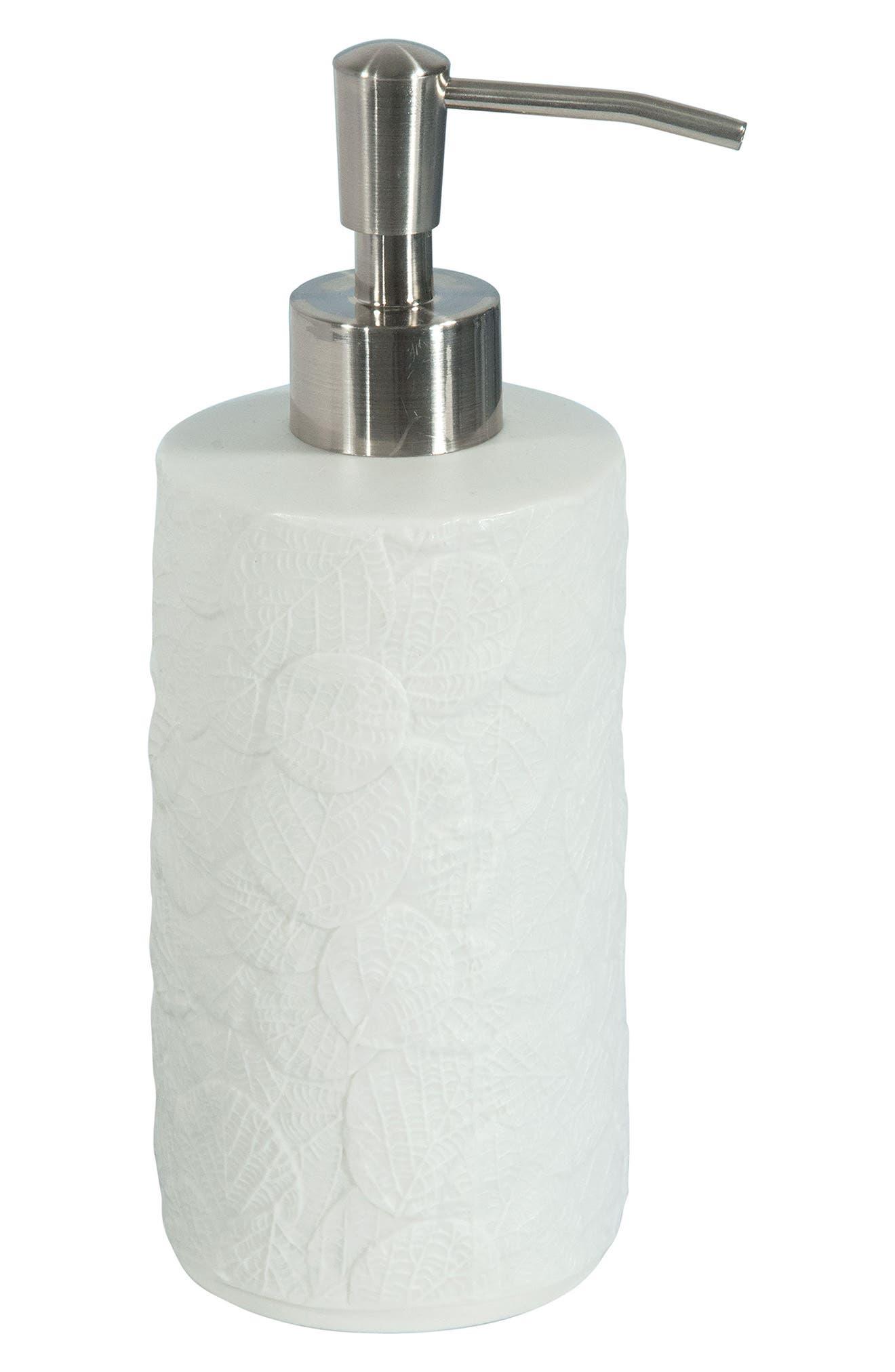 Botanical Leaf Porcelain Lotion Dispenser,                         Main,                         color, White
