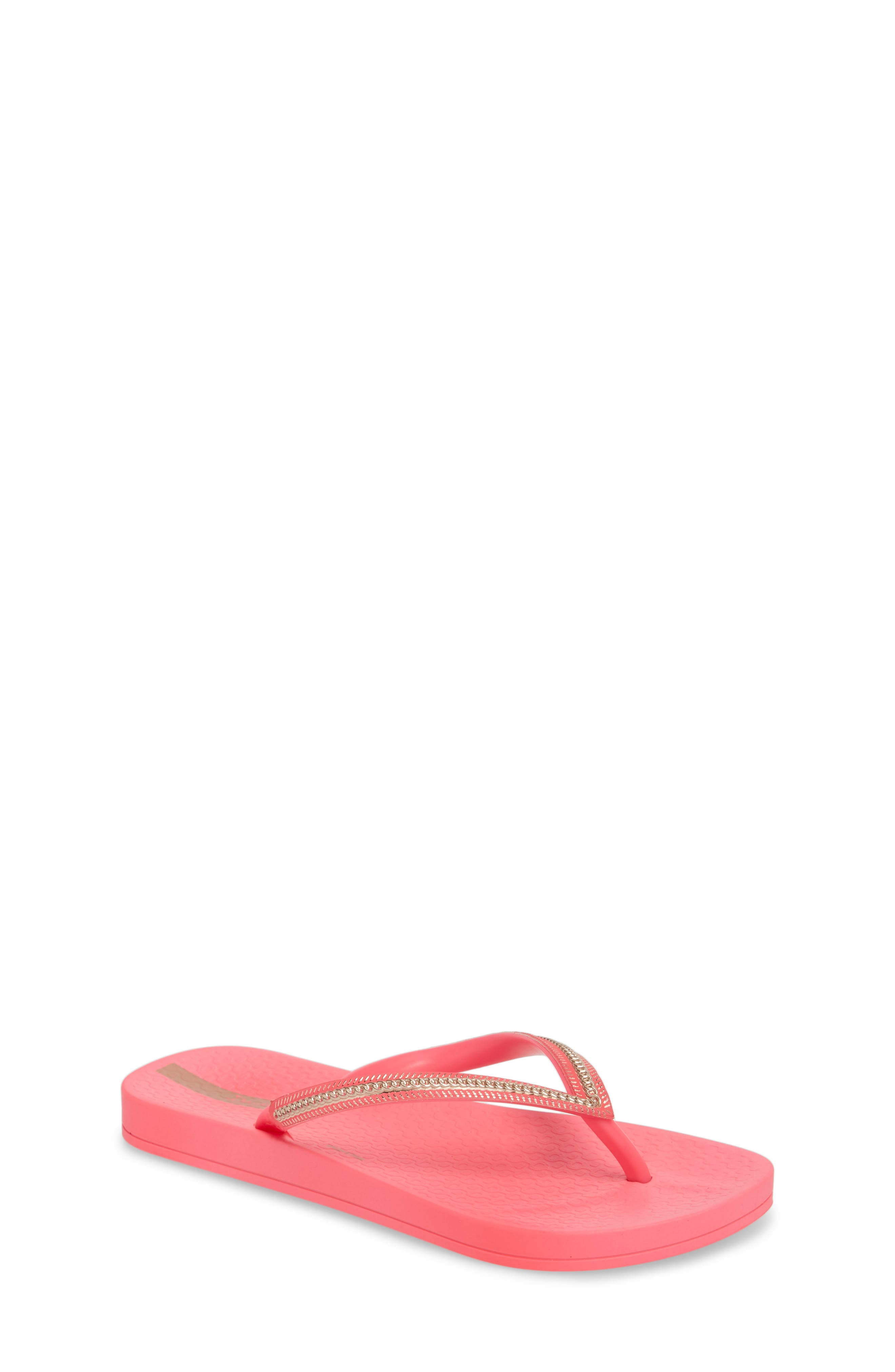 Ana Metallic Flip Flop,                         Main,                         color, Pink Neon/ Rose