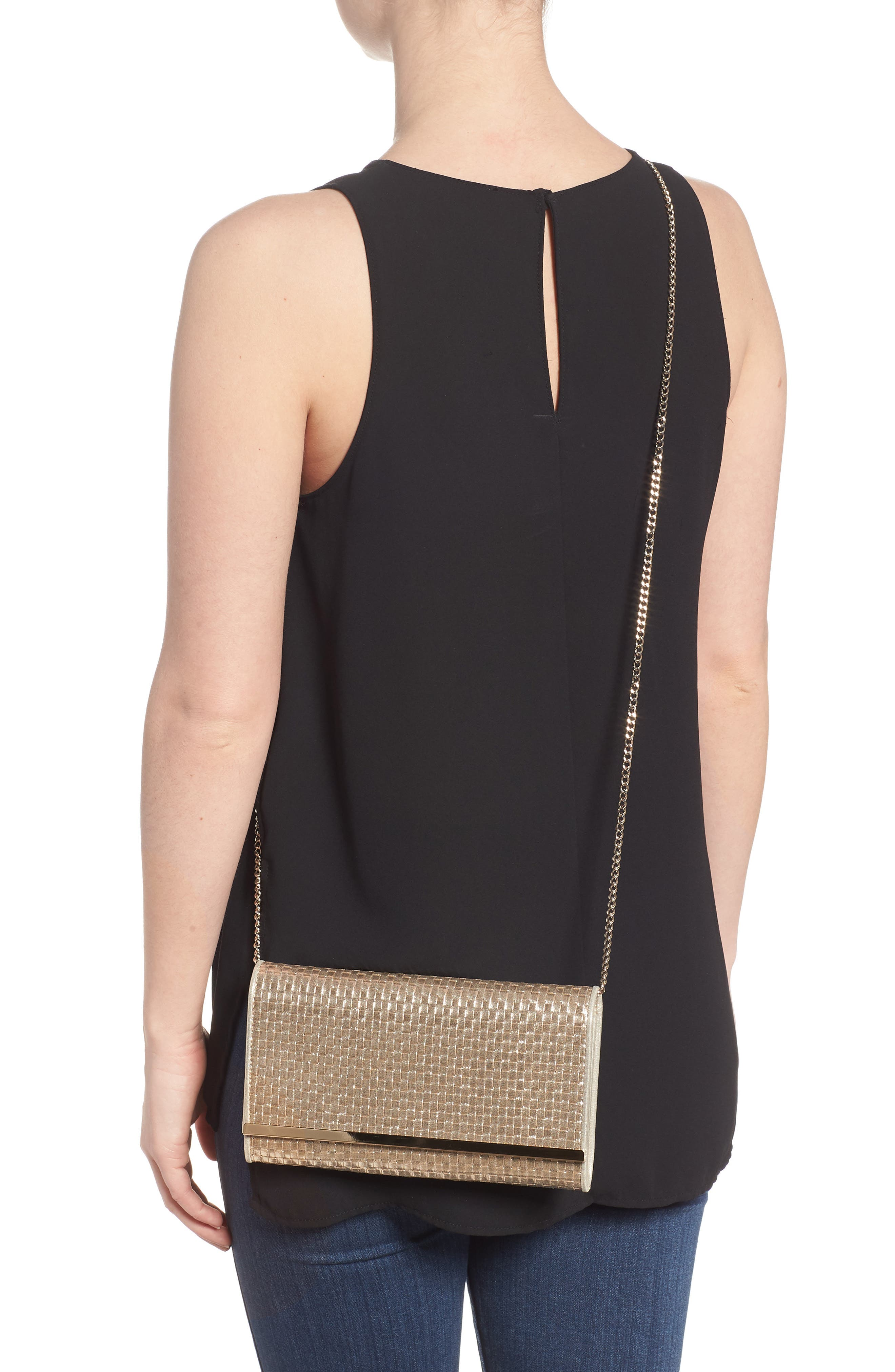 Alternate Image 2  - Nordstrom Woven Faux Leather Metallic Clutch