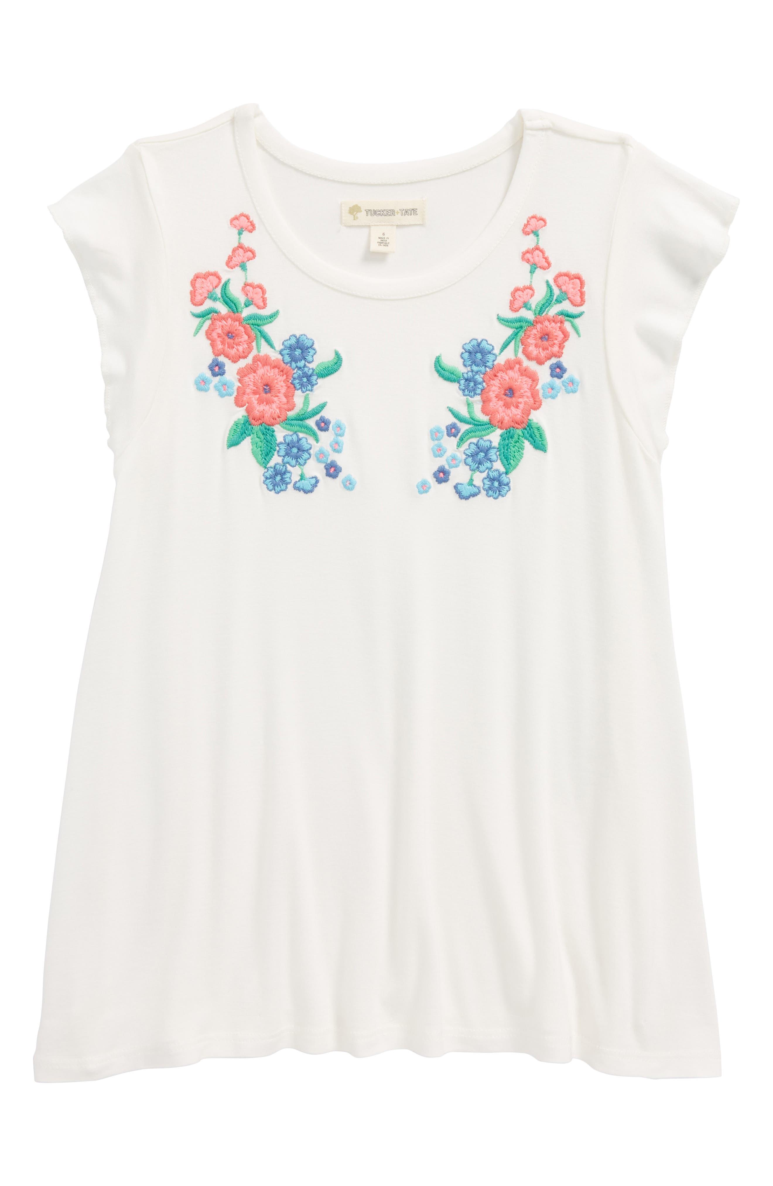 Floral Embroidered Flutter Sleeve Tee,                         Main,                         color, Ivory Egret