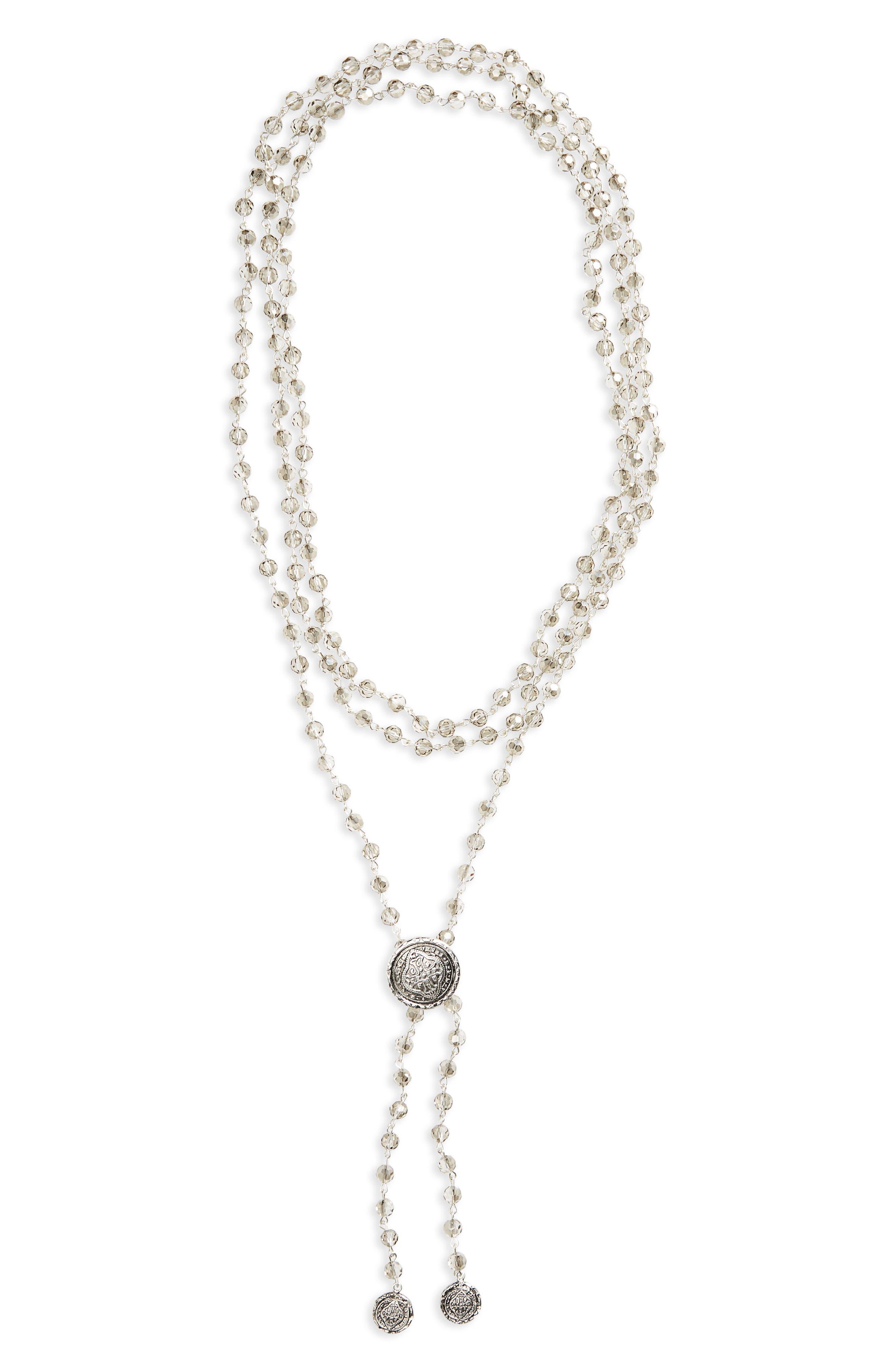 Large Flamenco Crystal Wrap Necklace,                             Main thumbnail 1, color,                             Black Diamond