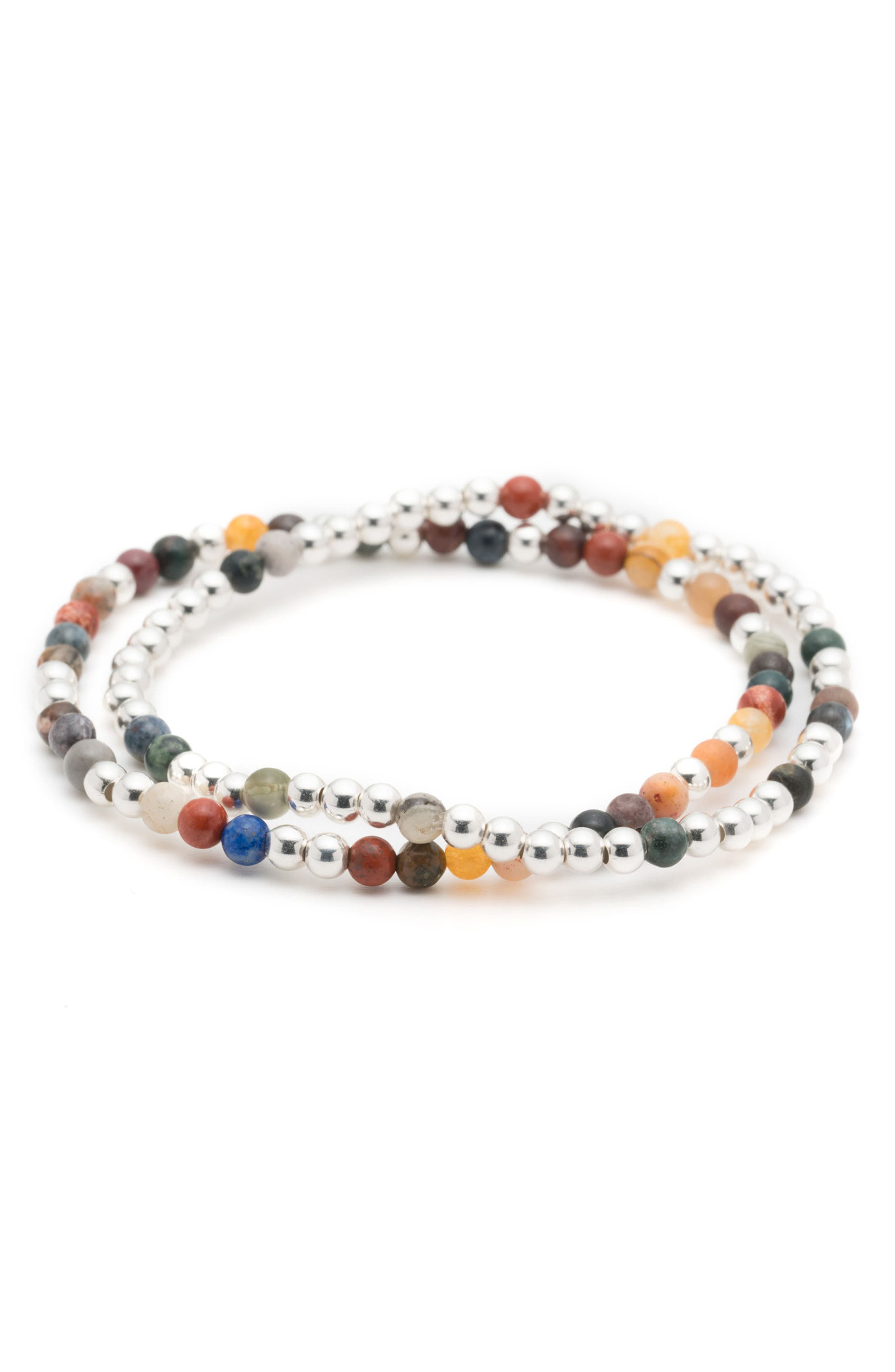 Essaouira 2-Pack Bracelets,                             Main thumbnail 1, color,                             Silver/ Multi
