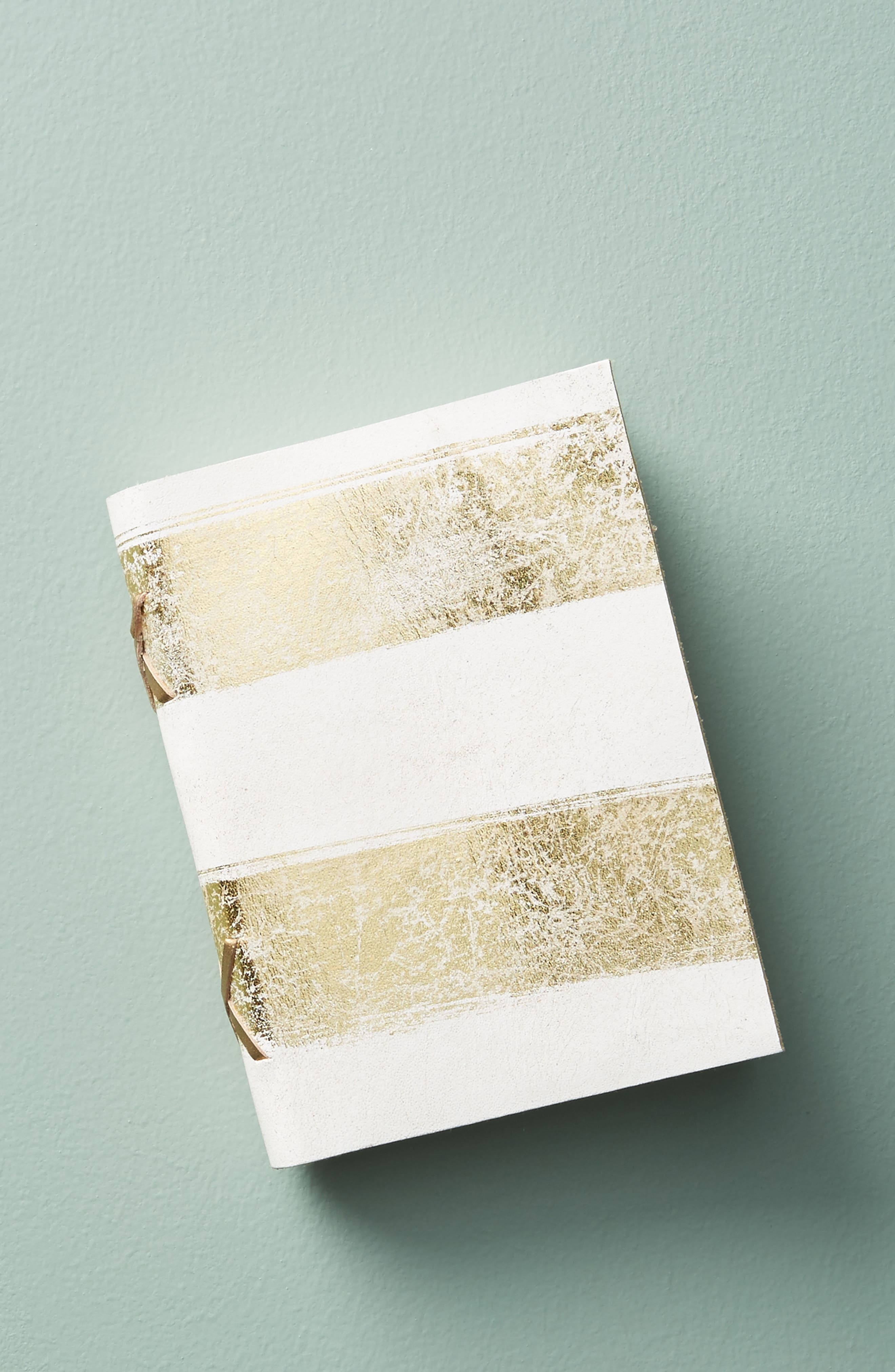 Gilded Leather Journal,                         Main,                         color, White/ Gold - Small
