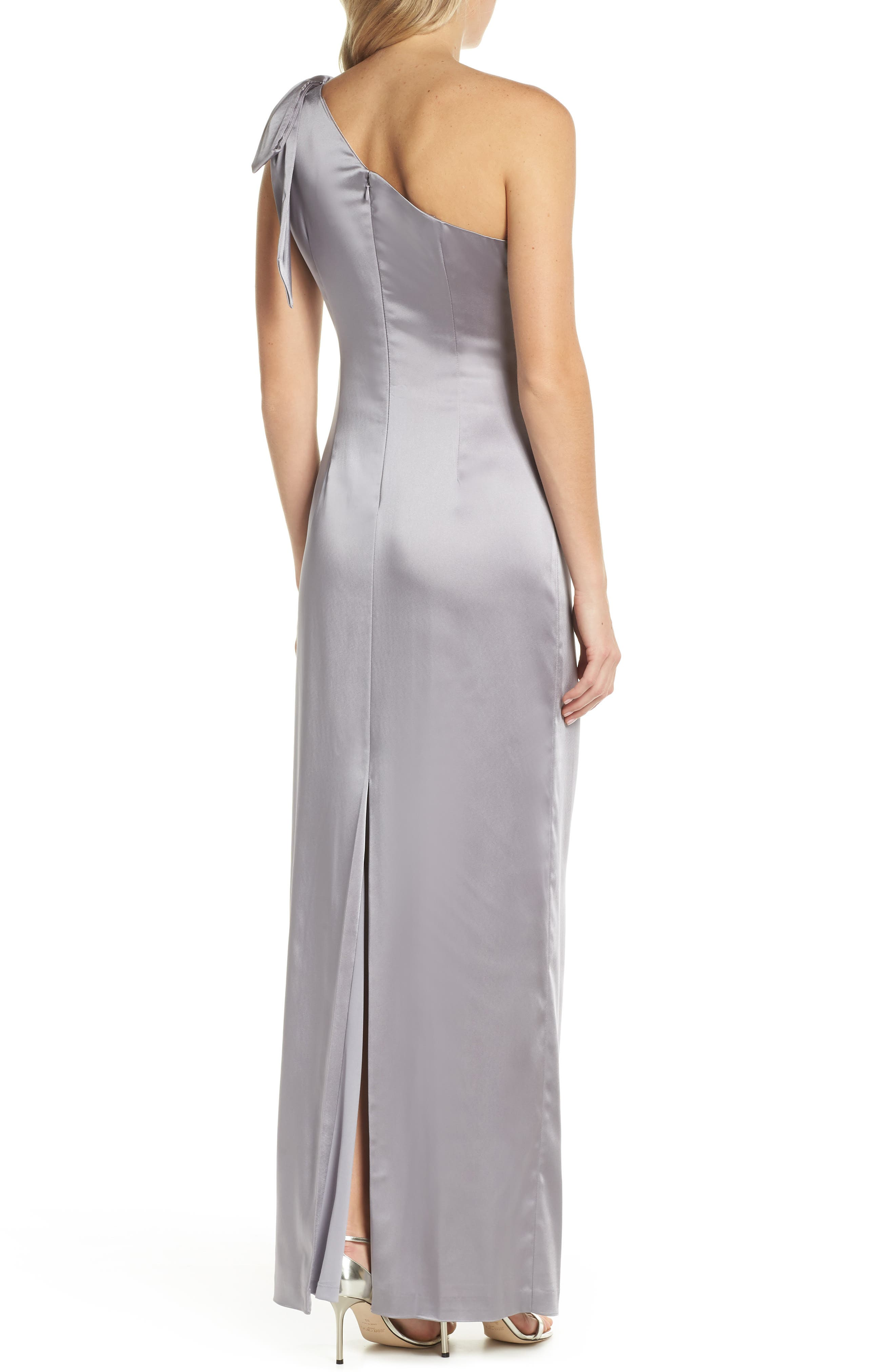 One-Shoulder Stretch Satin Gown,                             Alternate thumbnail 2, color,                             Silver