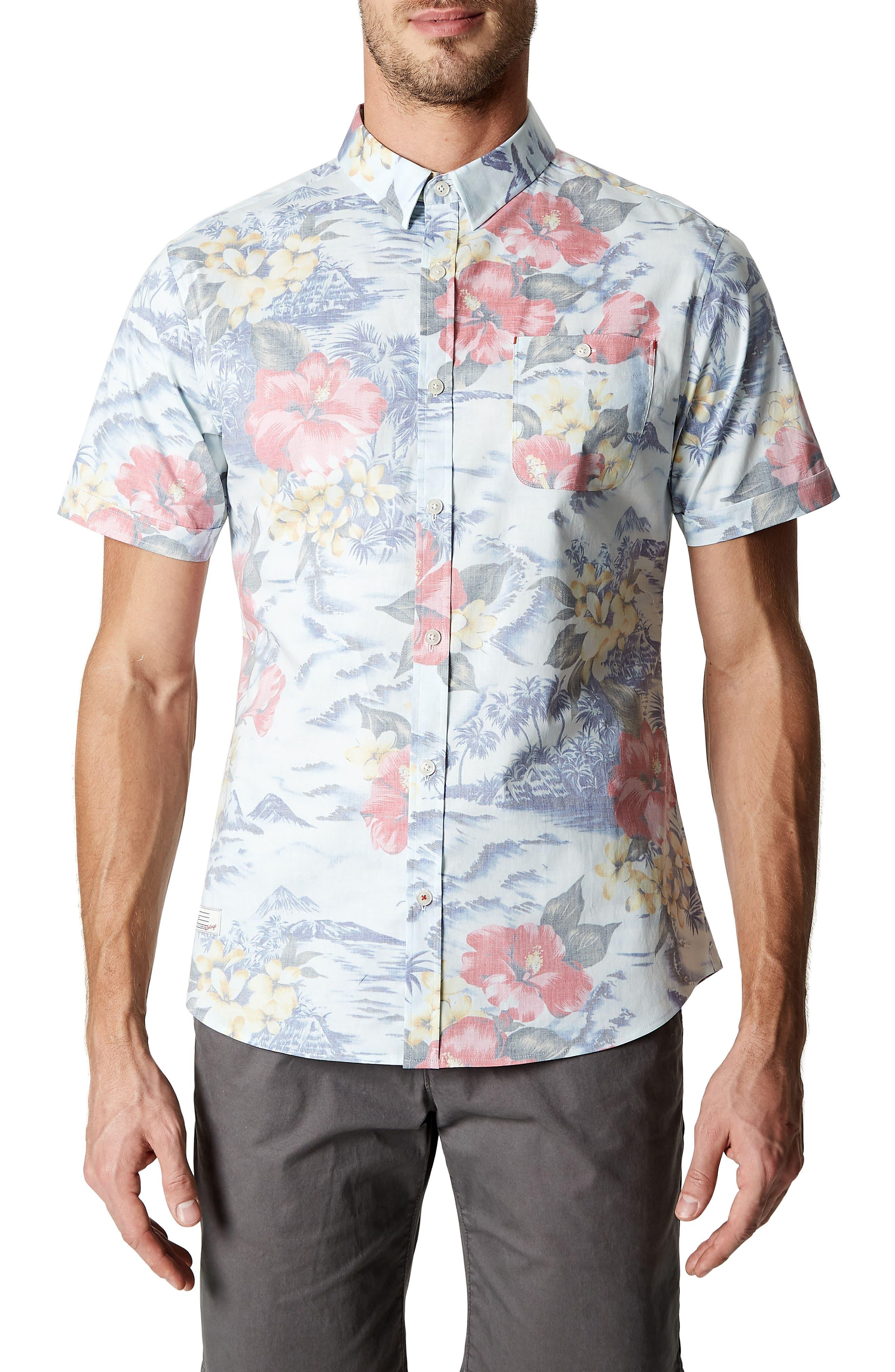 Vacation Tropical Print Sport Shirt,                             Main thumbnail 1, color,                             Lt. Blue
